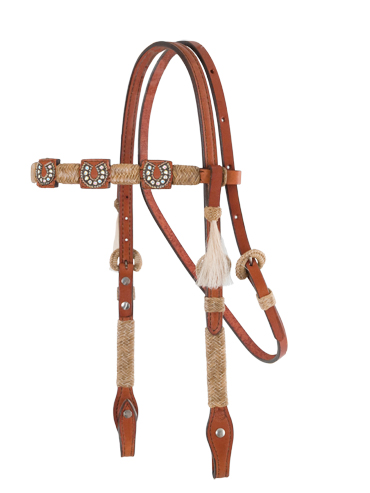 Square Cut Toast Headstall, Natural Braiding, 3X Conchos
