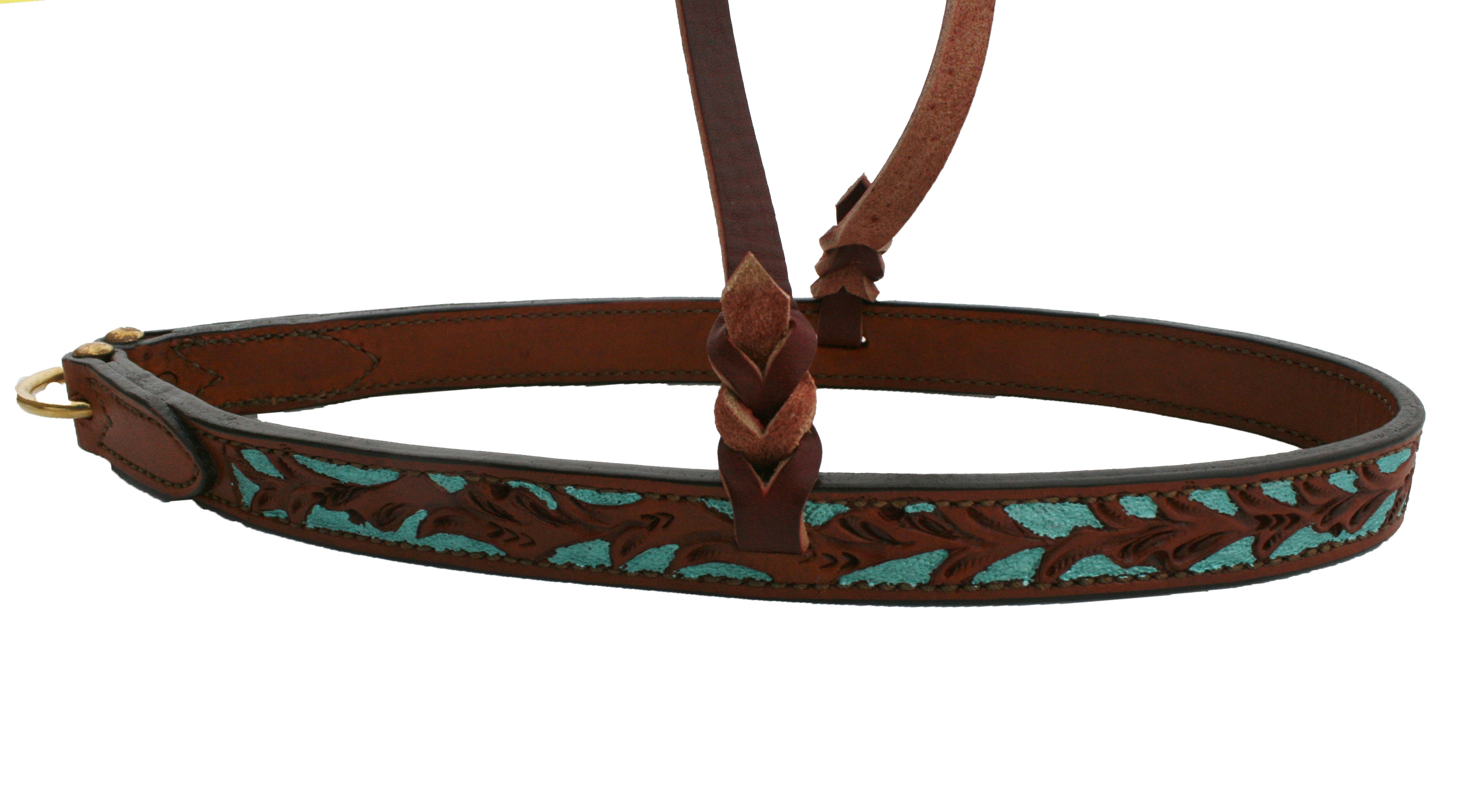 NOSEBAND w FLORAL TOOLING, TURQ PAINT