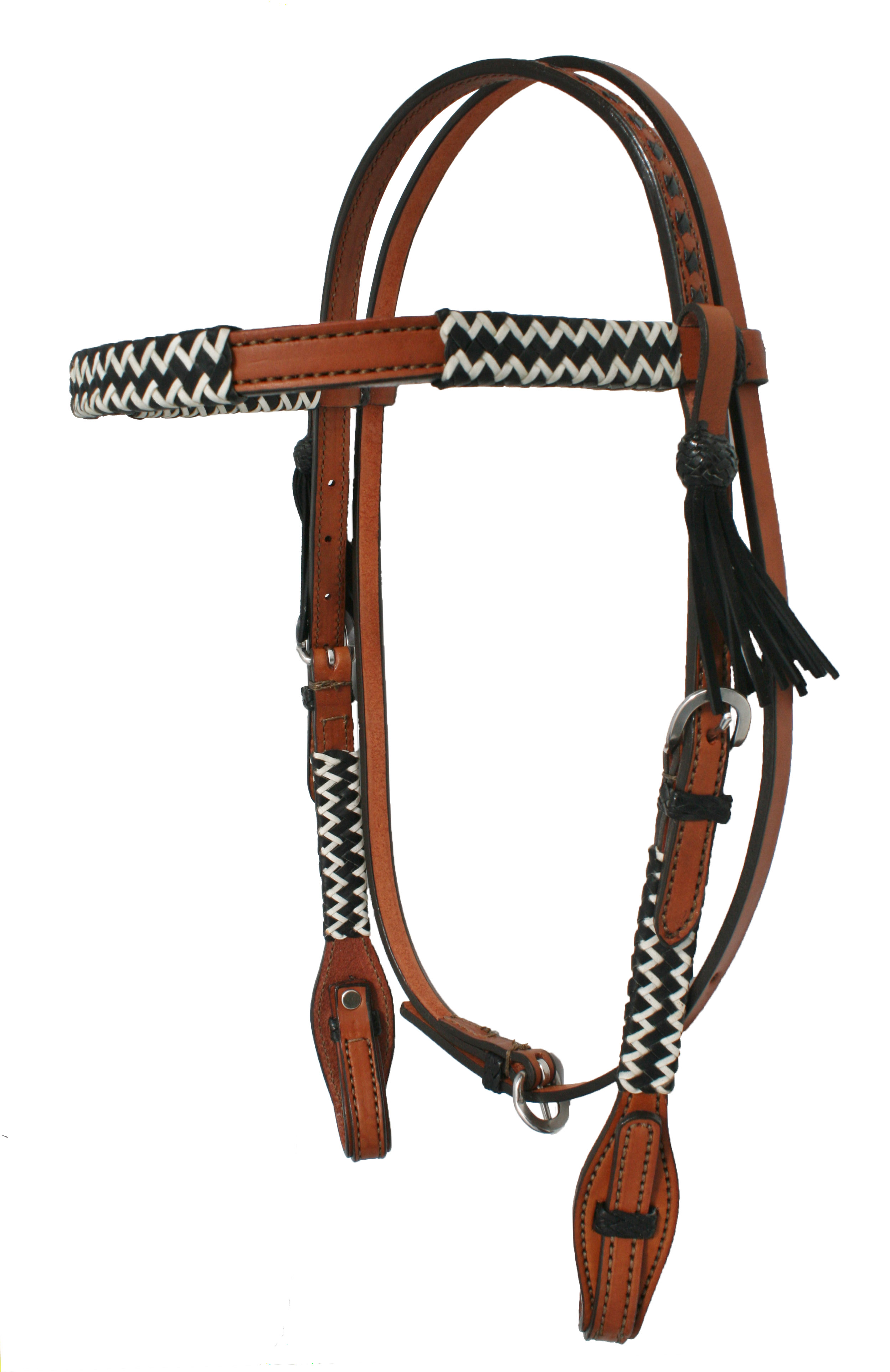 CHEVRON BLACK/WHITE RAWHIDE BRAIDED HEADSTALL