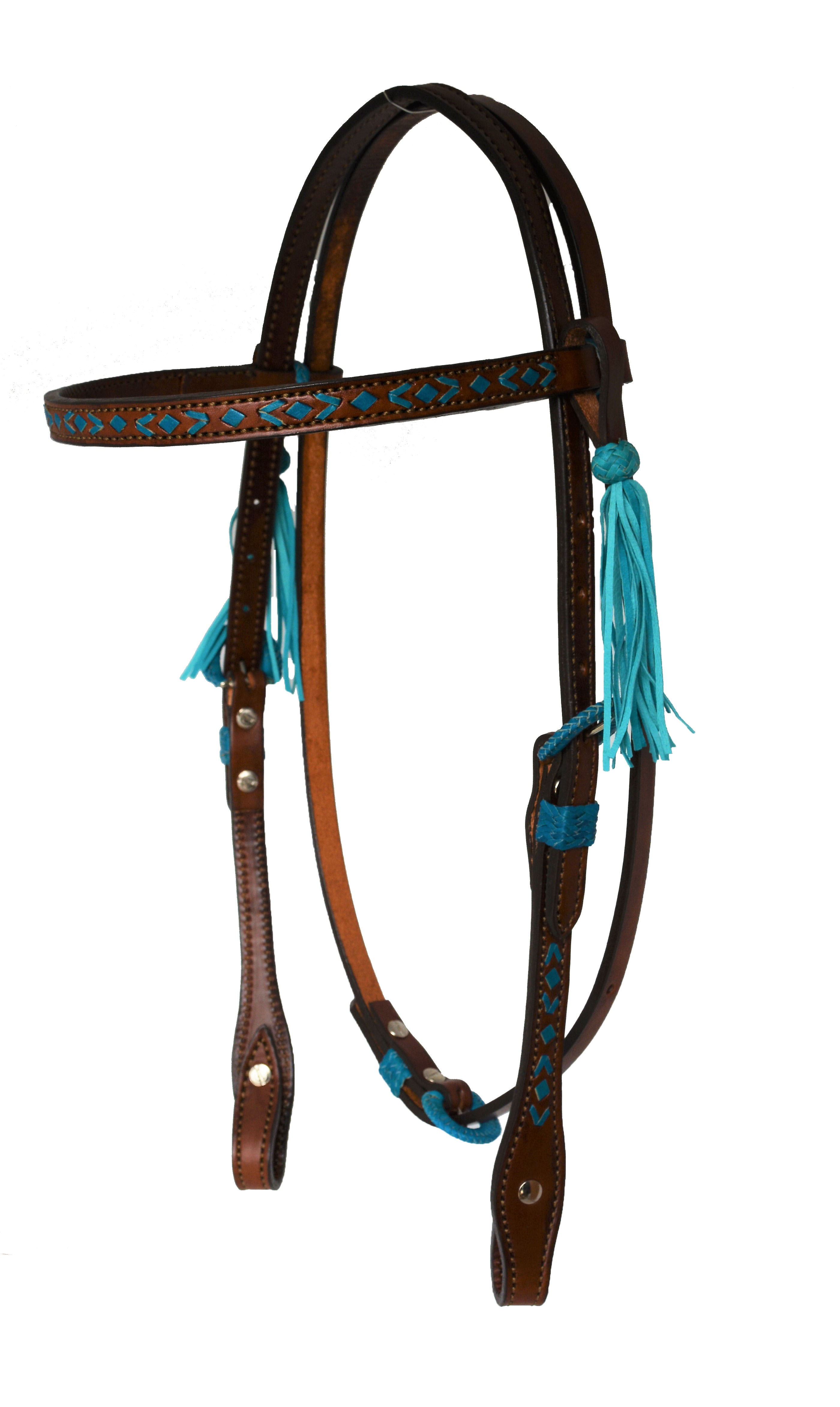 HEADSTALL WITH TRURQUOISE RAWHIDE SOUTHWEST DESIGN