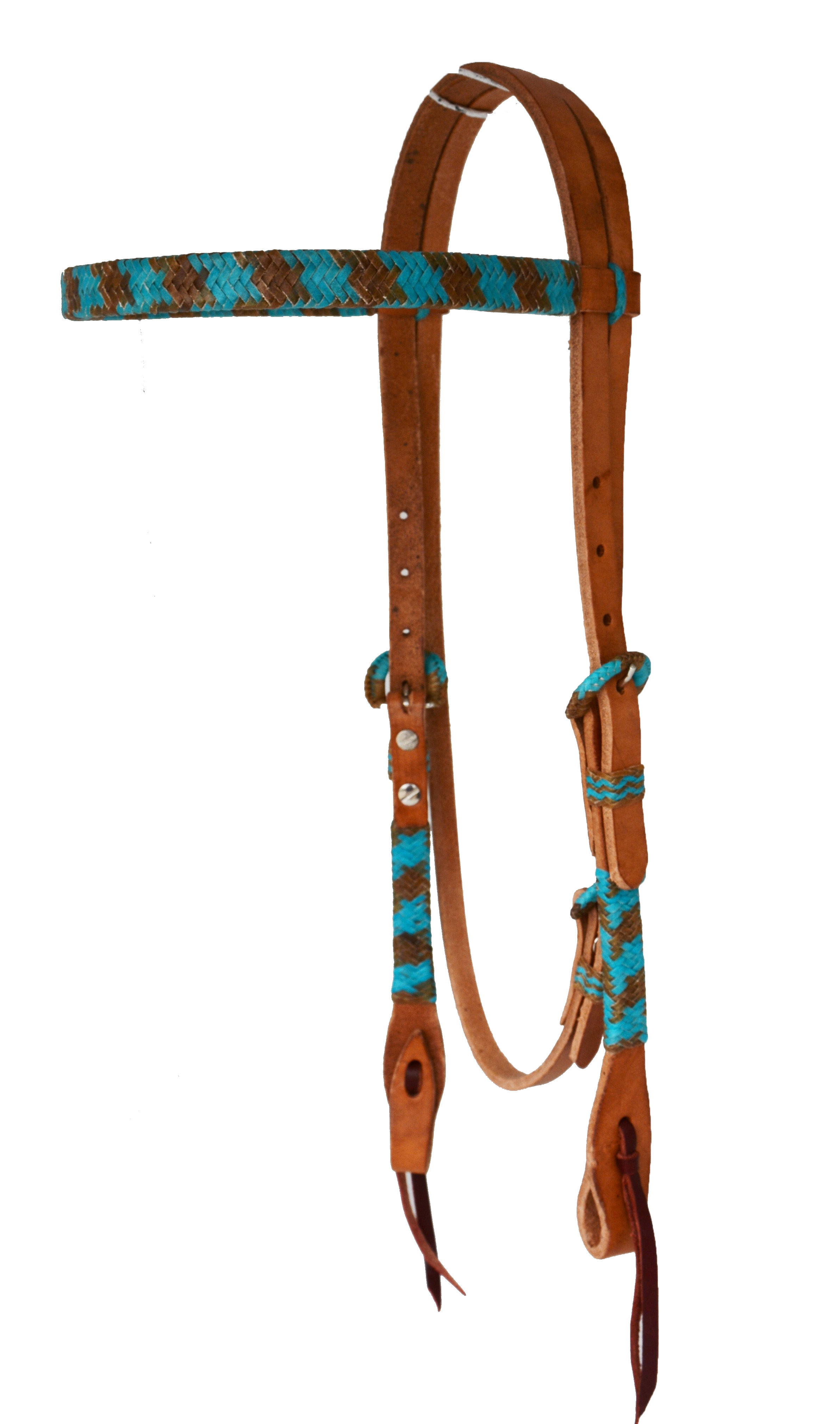 HARNESS LEATHER HEADSTALL w NATURAL AND TURQUOISE BRAIDING