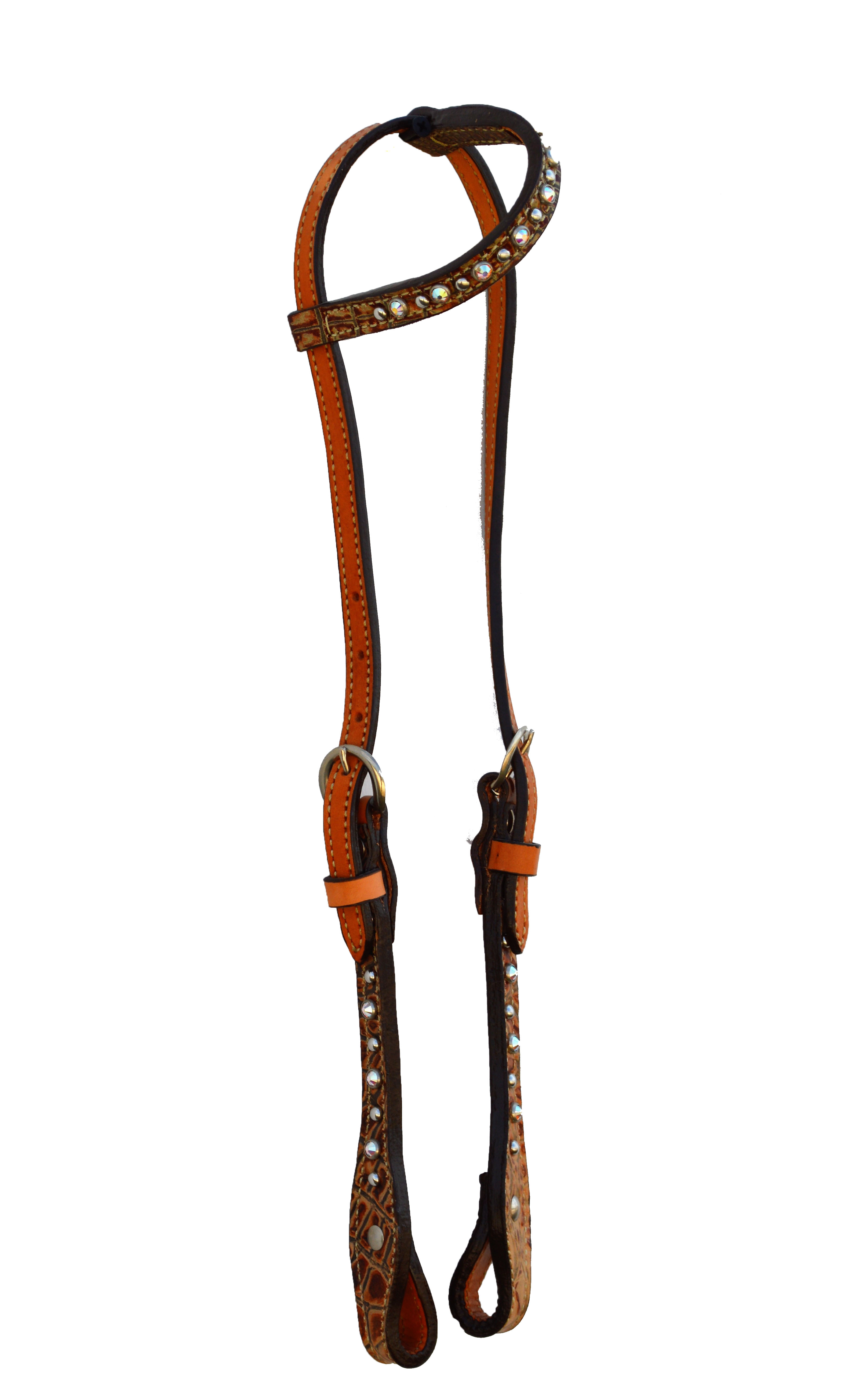 One ear headstall with brown gator overlay