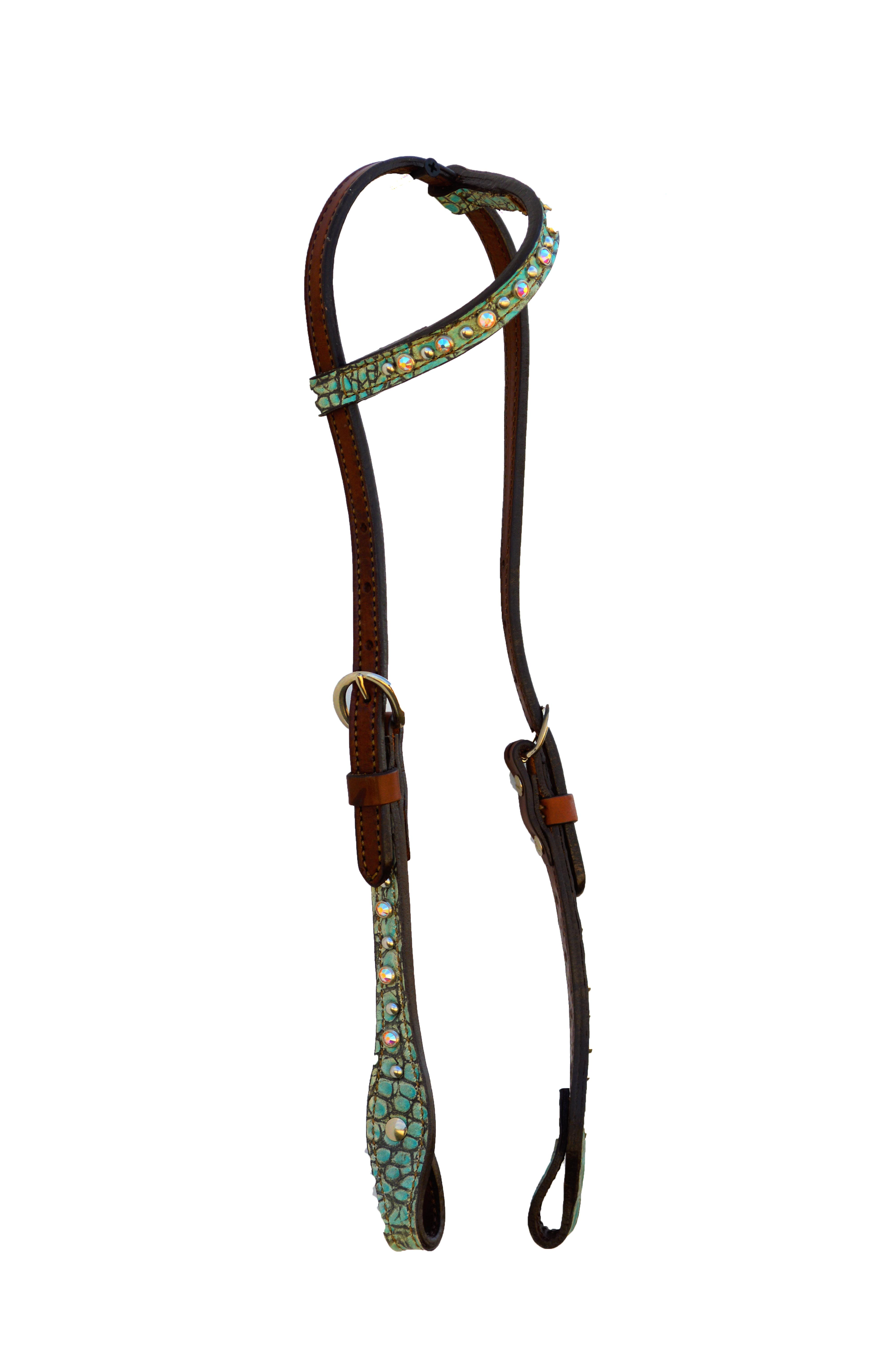 ONE EAR HEADSTALL WITH TURQUOISE GATOR OVERLAY