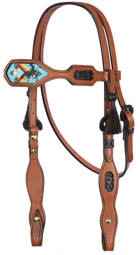 HEADSTALL w TURQUOISE INDIAN BEAD DESIGN