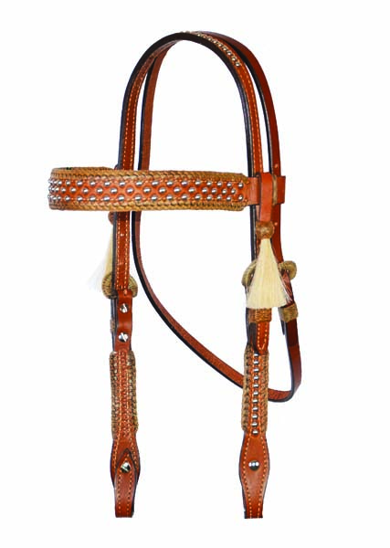 HEADSTALL CARMEL TOAST w SPANISH LACING