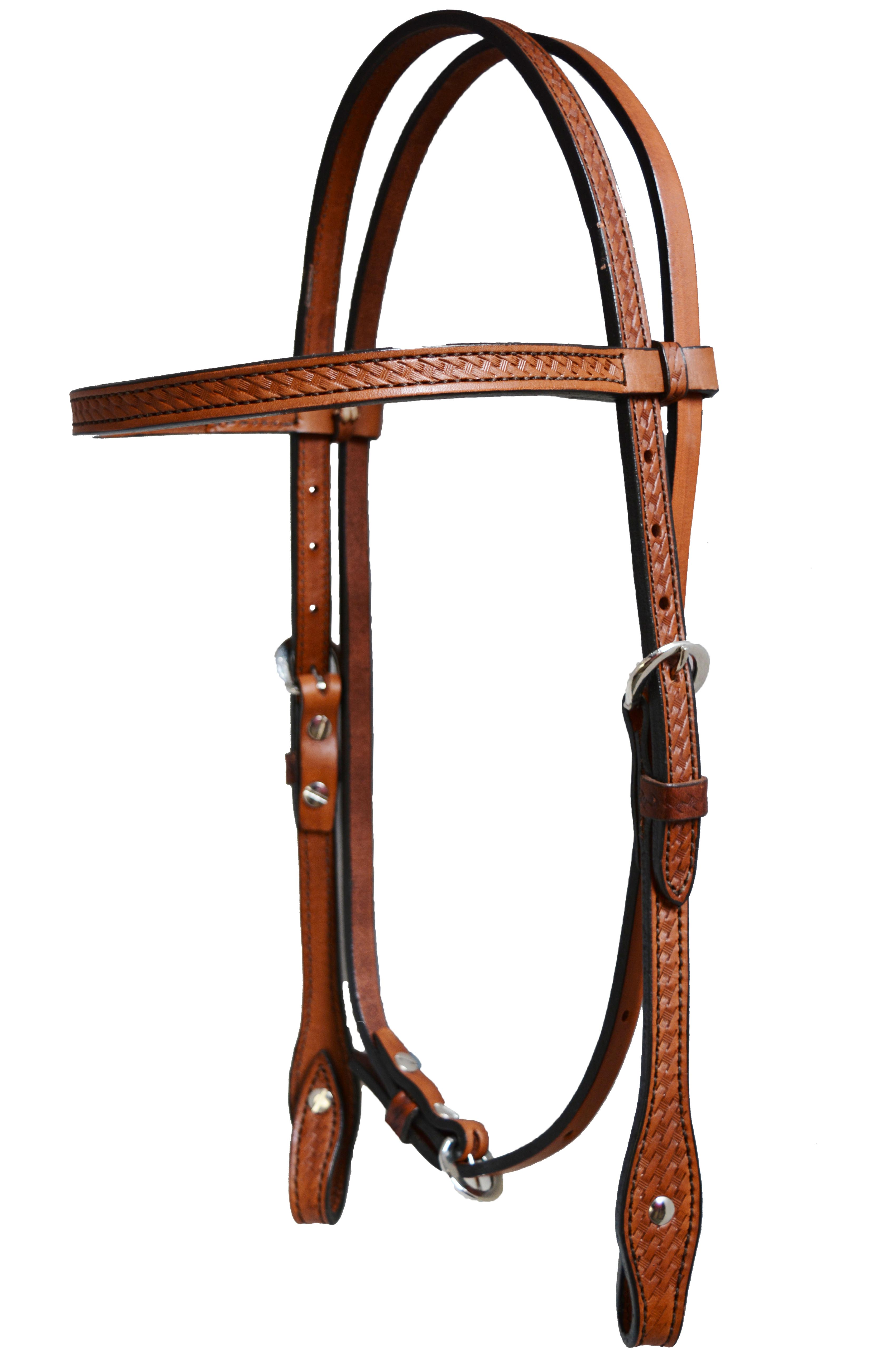 PONY SIZE HEADSTALL, TOAST w BASKET TOOKING