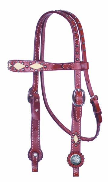 CHOCOLATE HEADSTALL, CHAMOIS DIAMOND CUT-OUTS