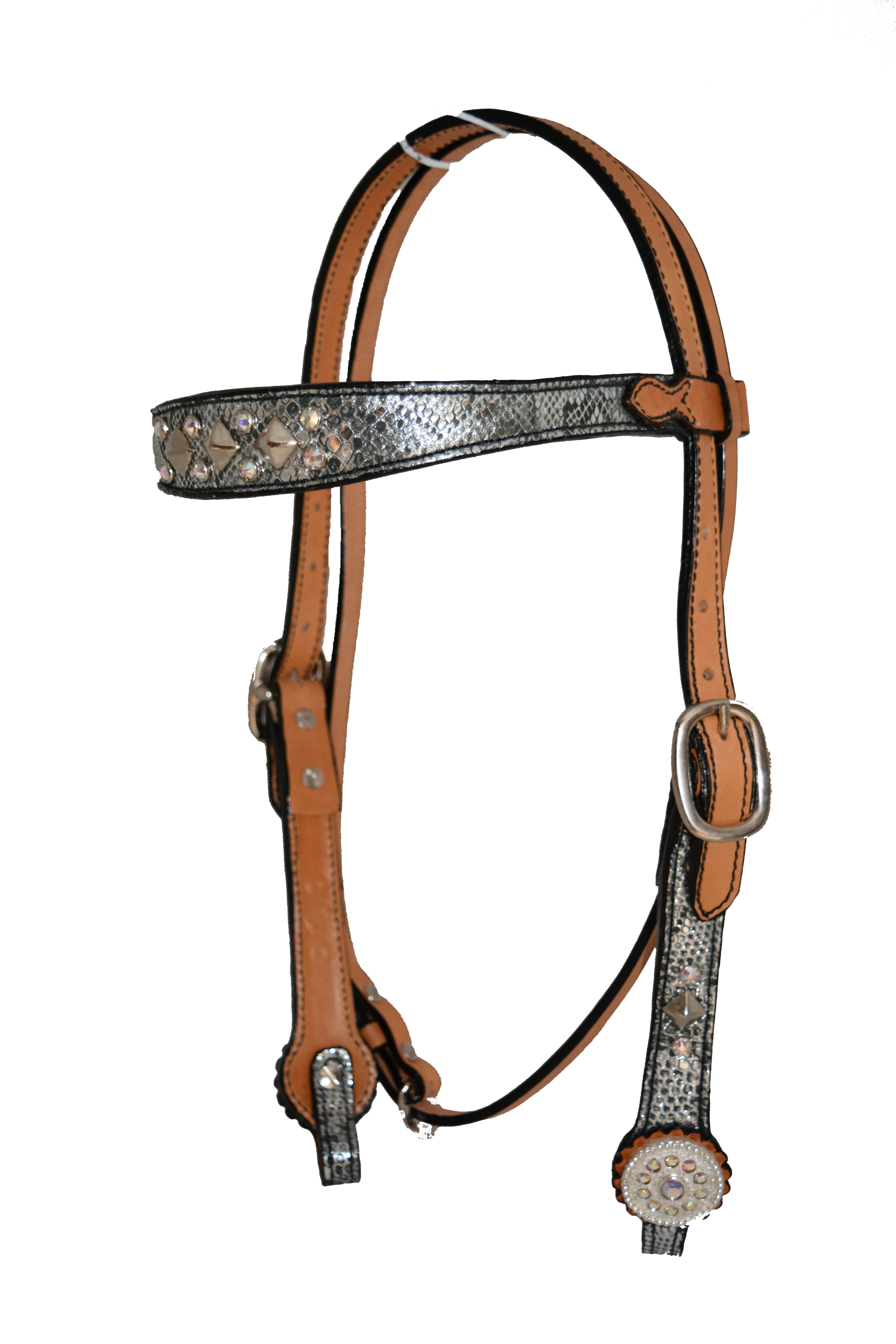 CONTOURED BROW HEADSTALL W SILVER PYTHON OVERLAY, SPOTS, CRYSTALS & CONCHOS (PZM)
