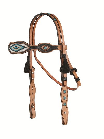 TURQUOISE DIAMOND PATTERN INLAID BEADED HEADSTALL