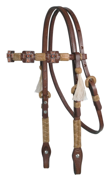 Square Cut Chocolate Headstall, Natural Braiding, 26 Conchos