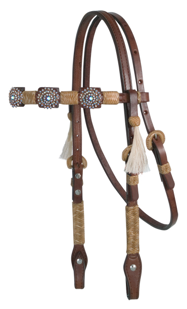 Square Cut Chocolate Headstall, Natural Braiding, SNO Conchos