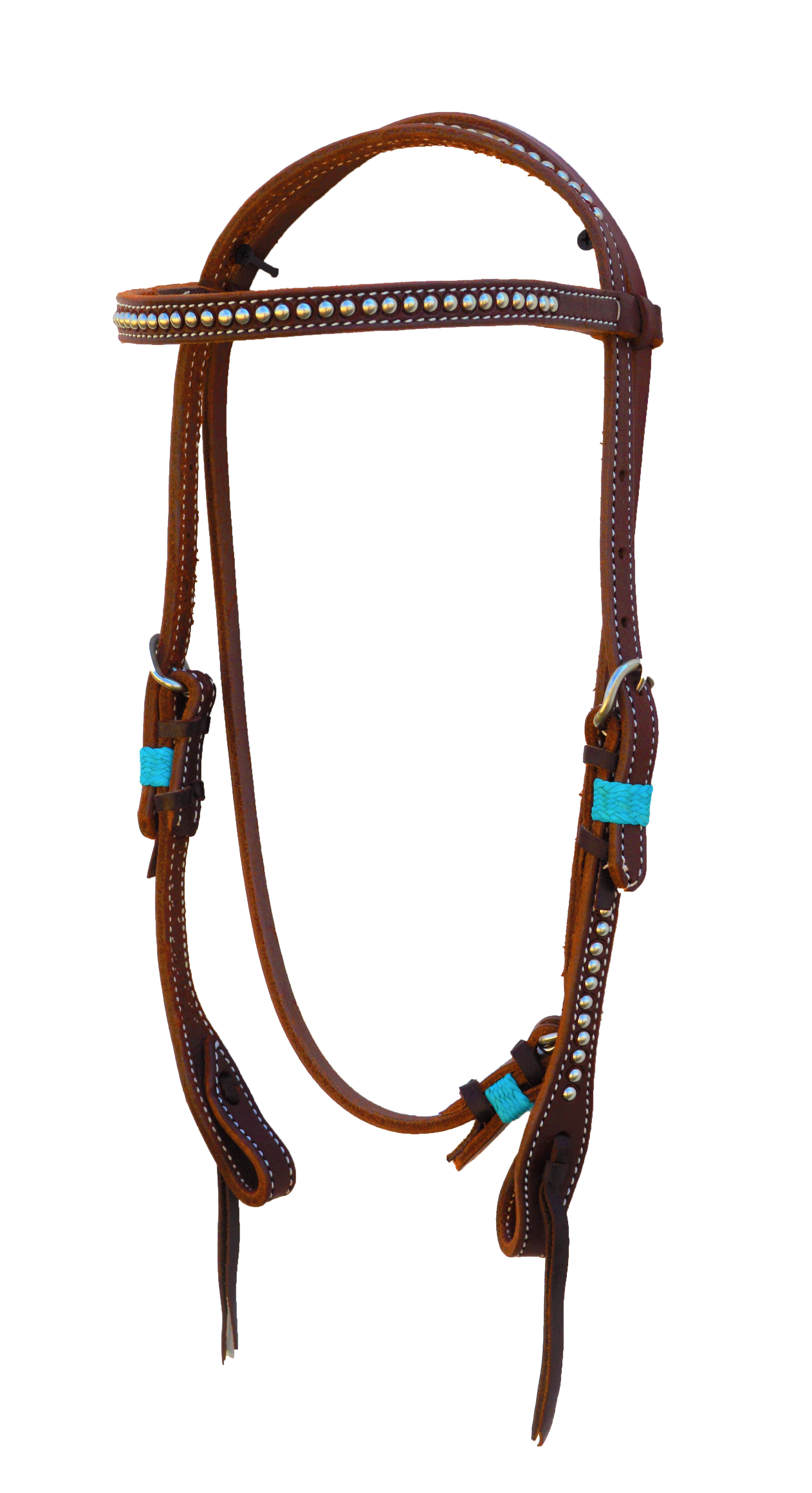 STRAIGHT HEADSTALL WITH OILED LEATHER AND SPOTTING