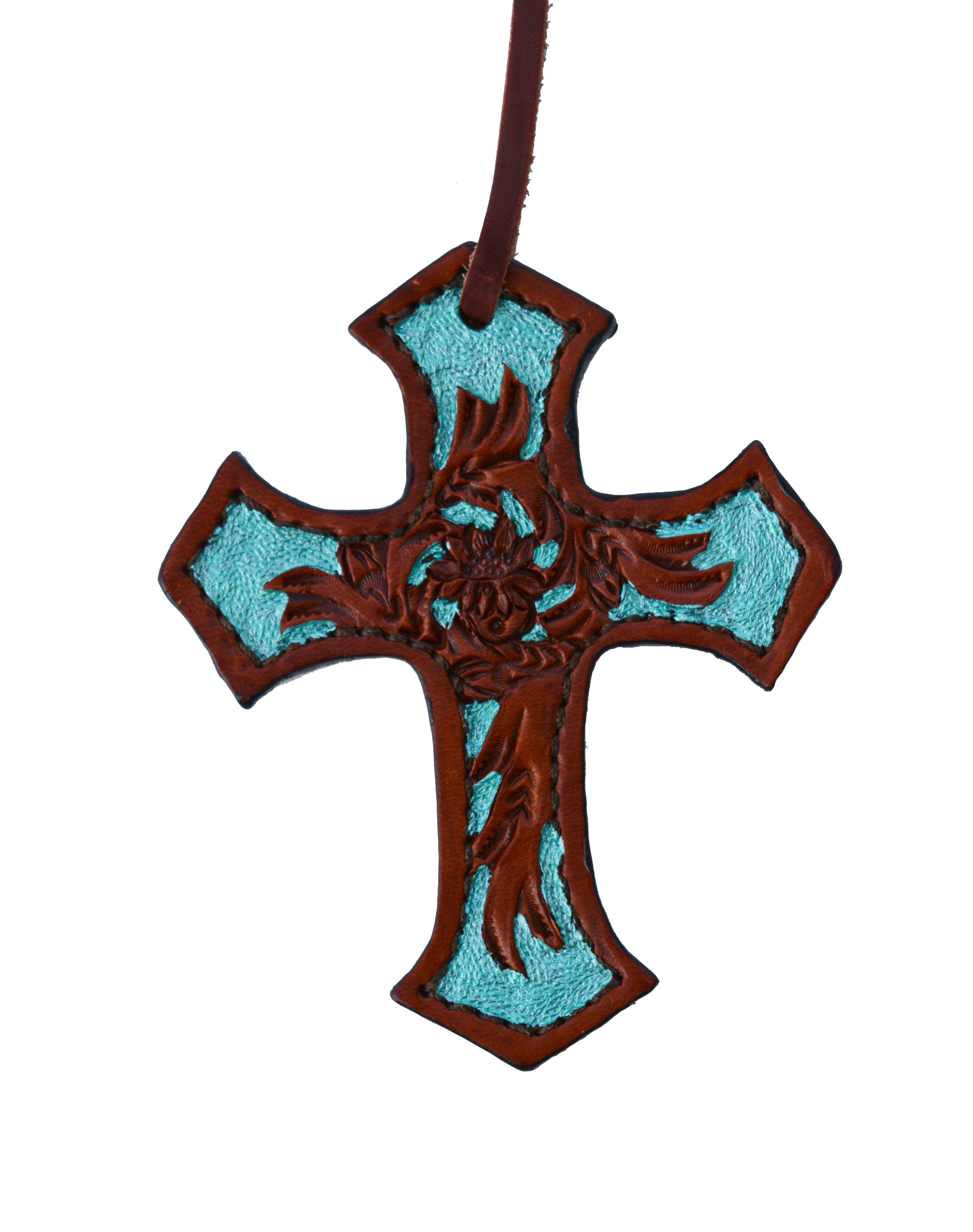 108-FT CROSS AA TOOLED w TURQUOISE PAINT