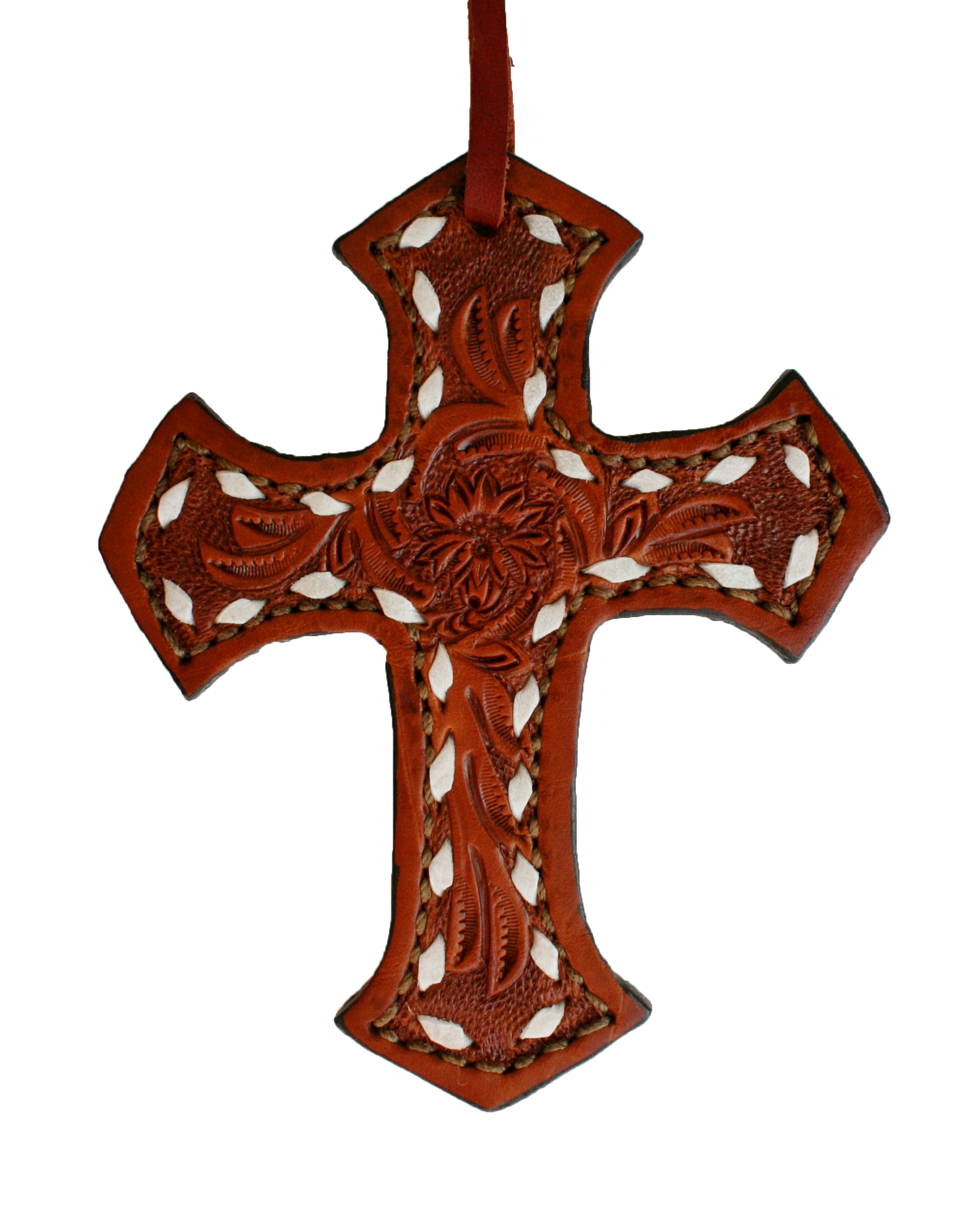 108-AB TOAST FLORAL TOOLED SADDLE CROSS