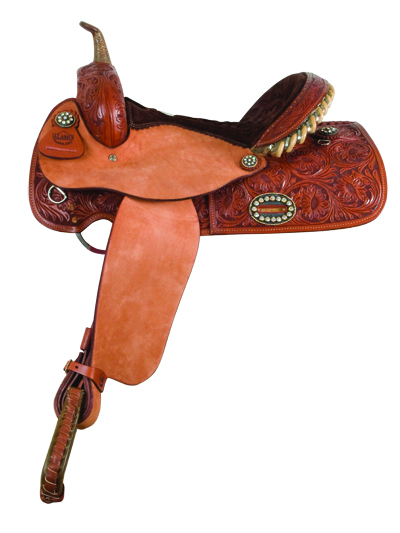 1244- TOAST FLORAL TOOLED BARREL SADDLE