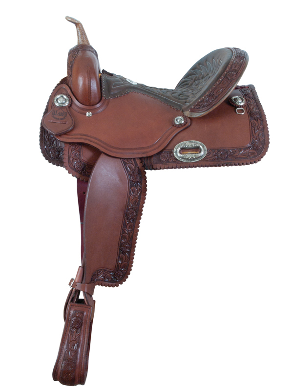 CHOCOLATE ROSE TOOLED BARREL SADDLE