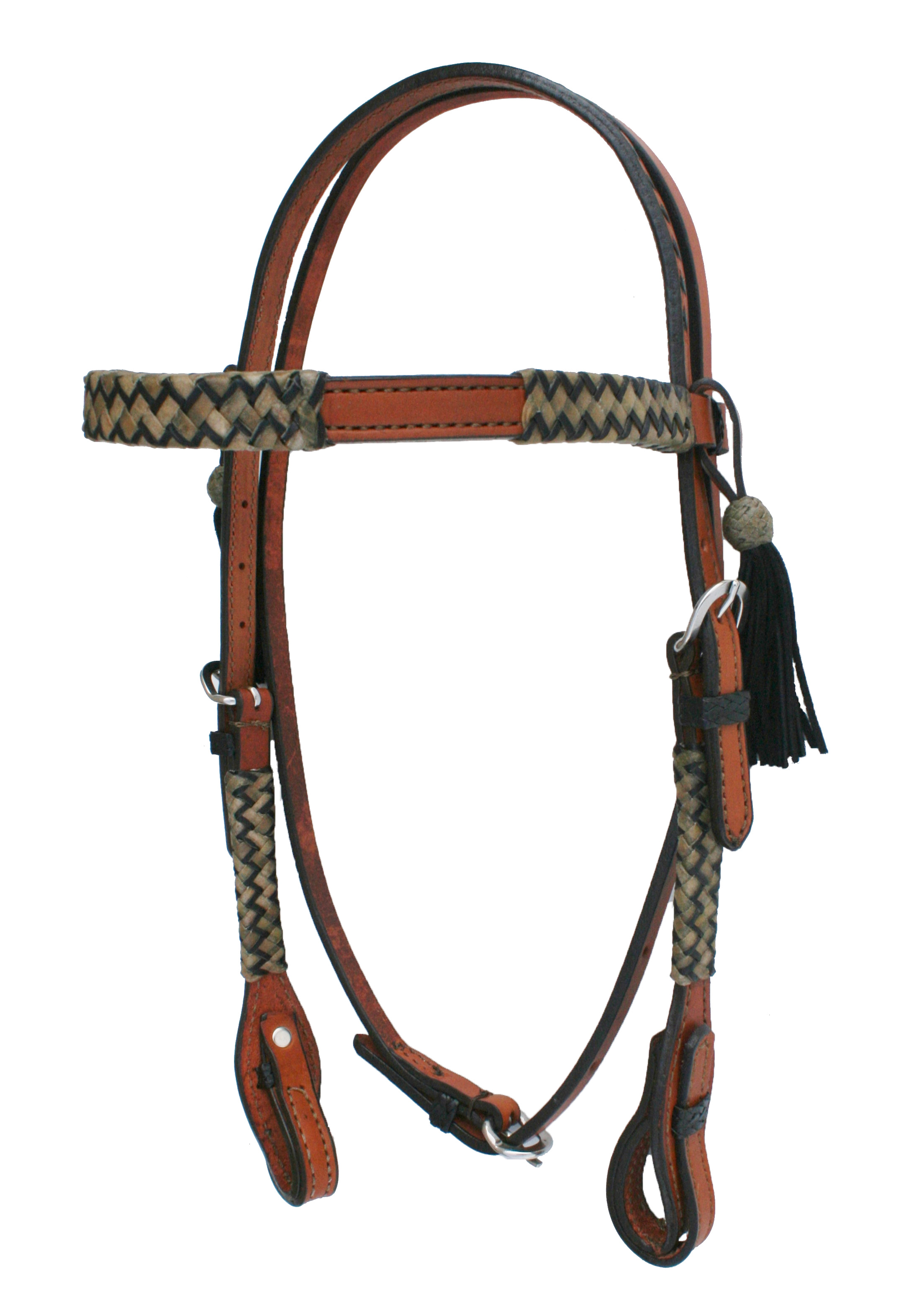 CHEVRON BLACK/NATURAL RAWHIDE BRAIDED HEADSTALL