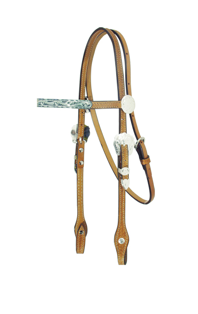 2715-KS PONY HEADSTALL w SILVER BARS, BUCKLES
