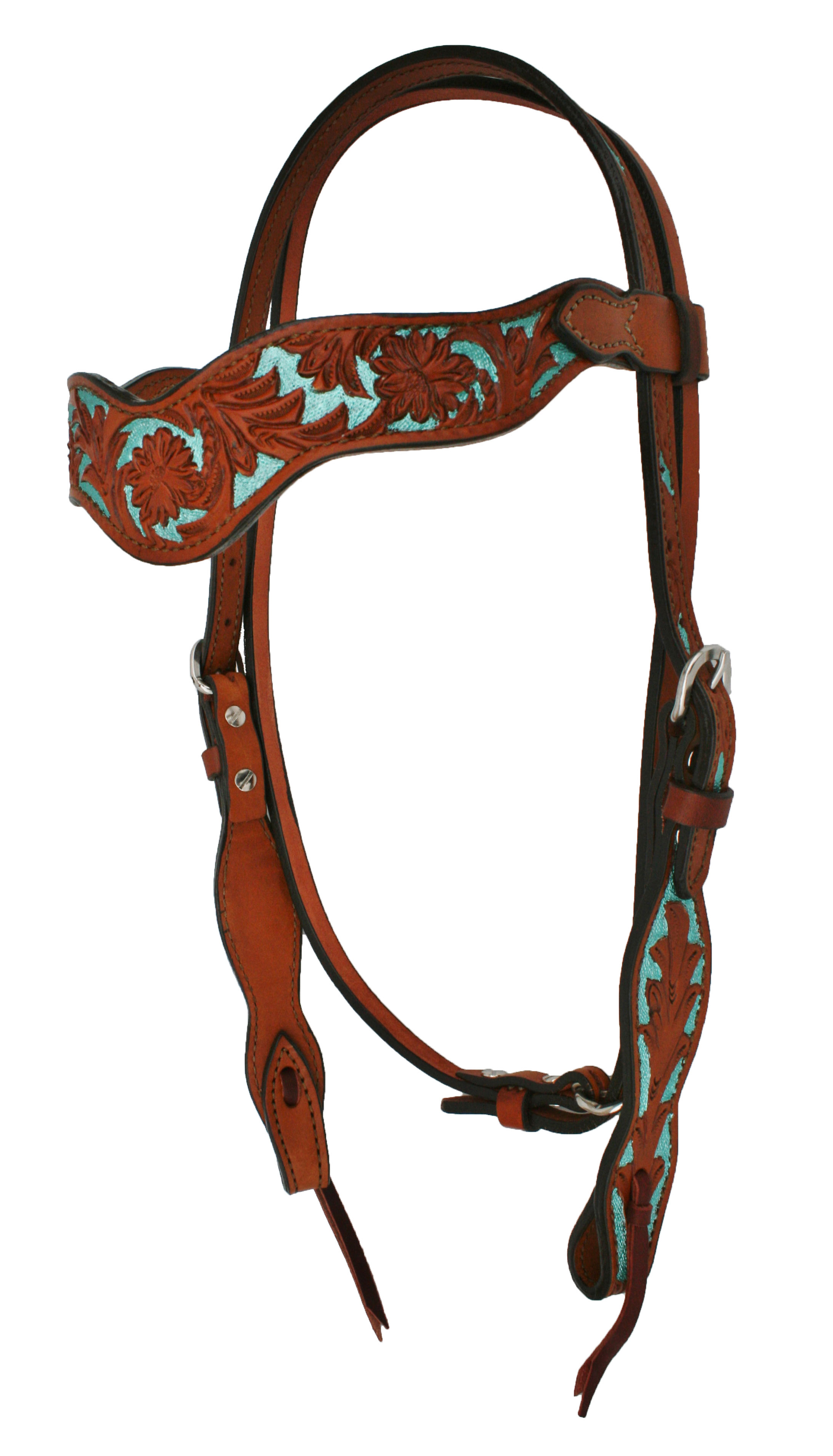 FLORAL TOOLED HEADSTALL w/ TURQ BACKGROUND PAINT