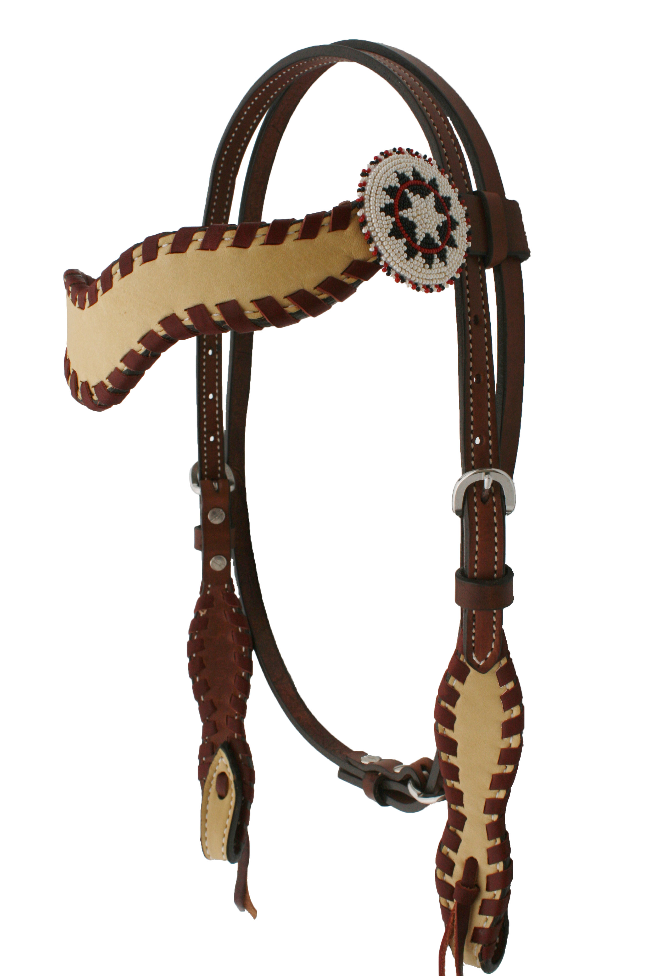 WAVE STYLE HEADSTALL w WHIP LACE & W3 CONCHO