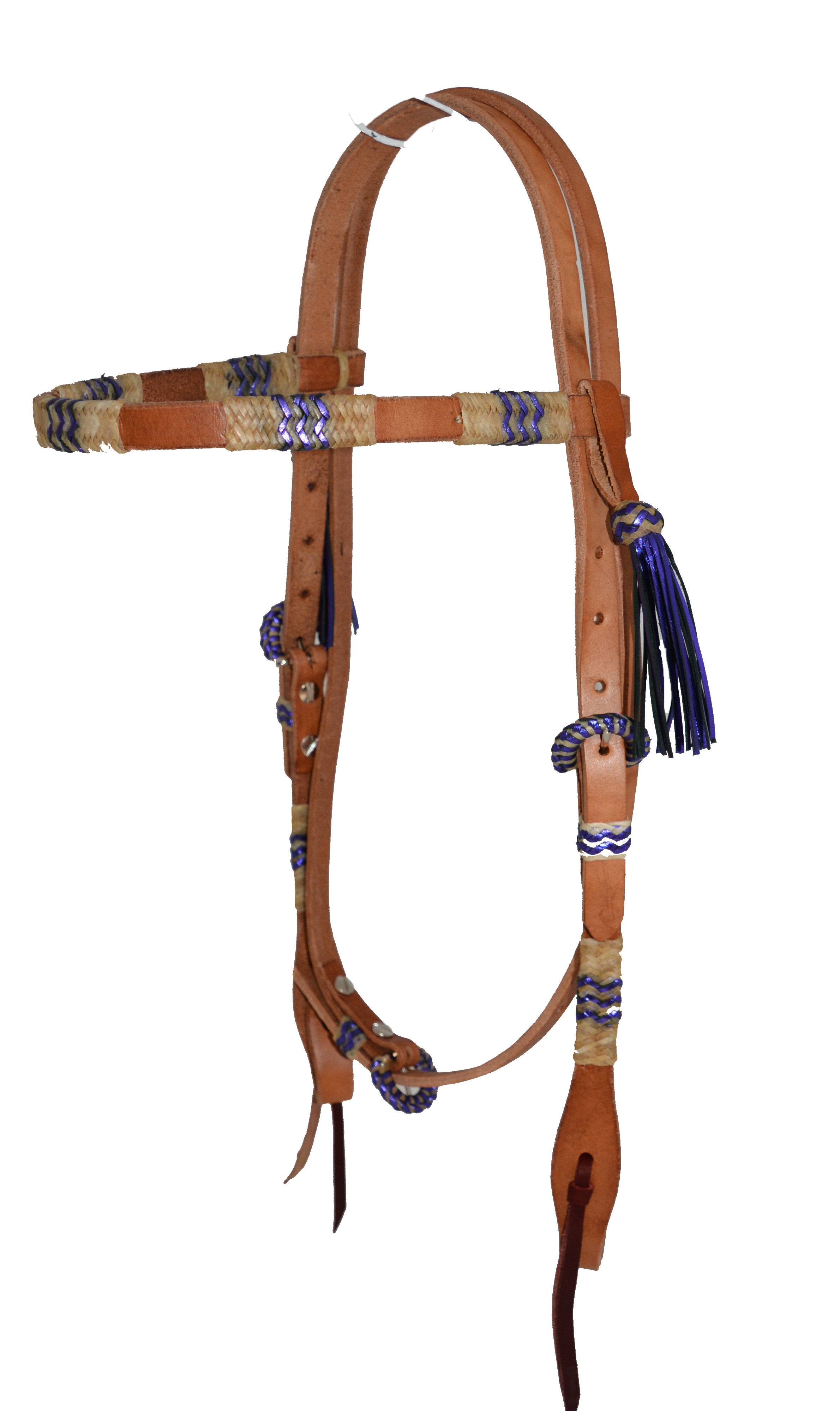 2030-BP BROWBAND HEADSTALL W NATURAL & PURPLE METALLIC FIESTA BRAIDING