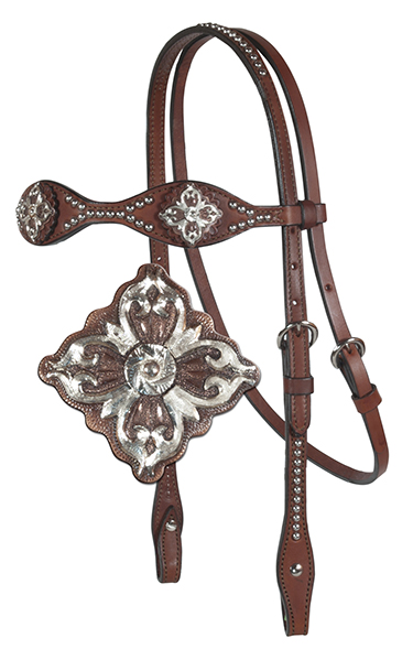 SCALLOPED HEADSTALL, D6 CONCHOS