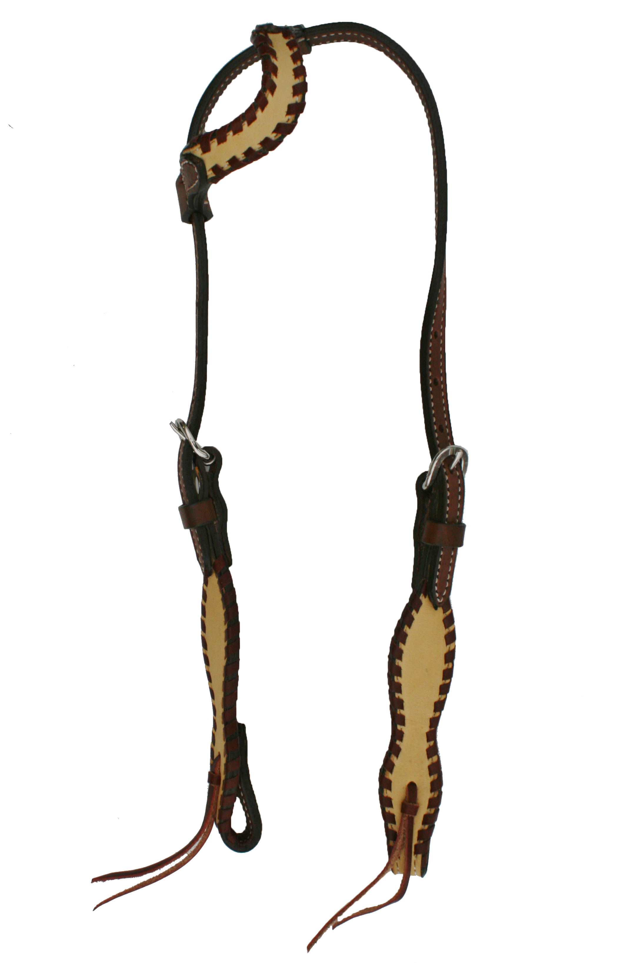 2074-WH ONE EAR HEADSTALL w PALOMINO OVERLAY