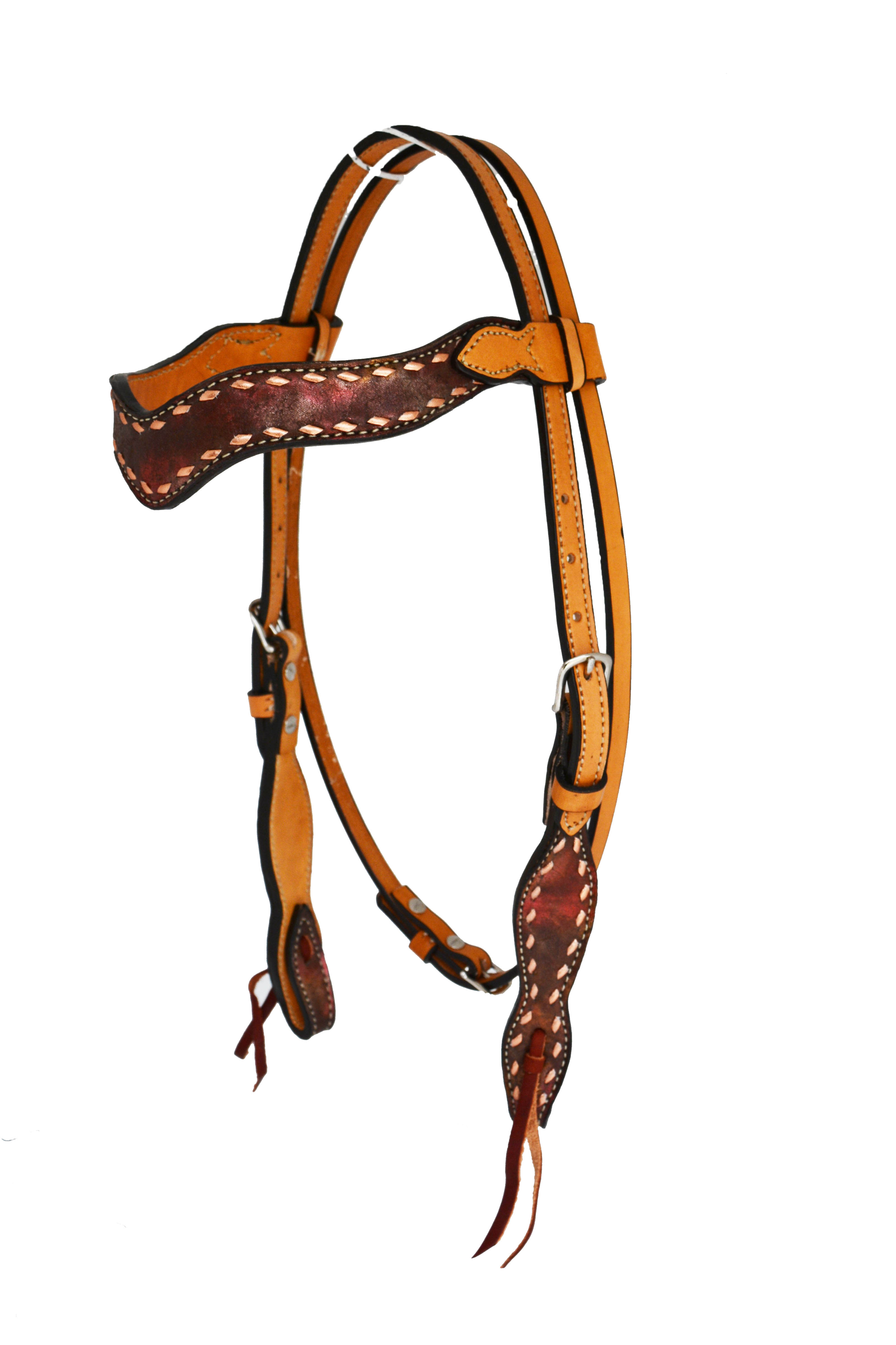 SLEEK WAVE STYLE HEADSTALL W COPPER MARBLE OVERLAY & BUCKSTITCH