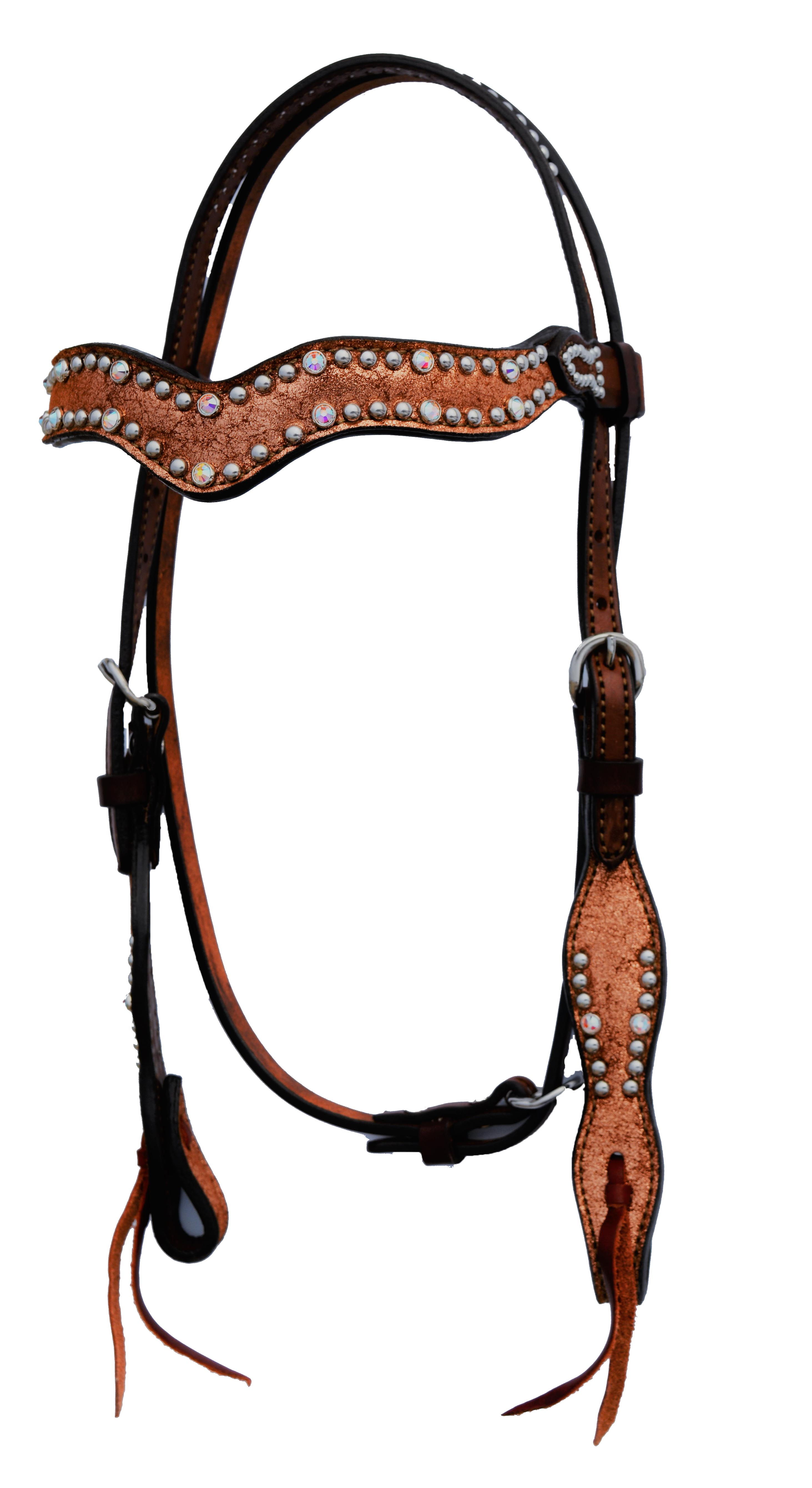 WAVE STYLE HEADSTALL WITH COPPER CRACKLE OVERLAY