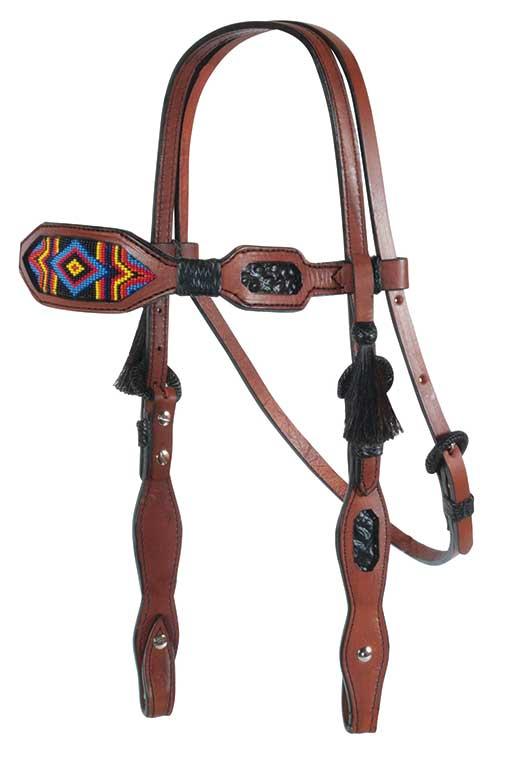 HEADSTALL TOAST w MULTI-COLOR BEAD DESIGN
