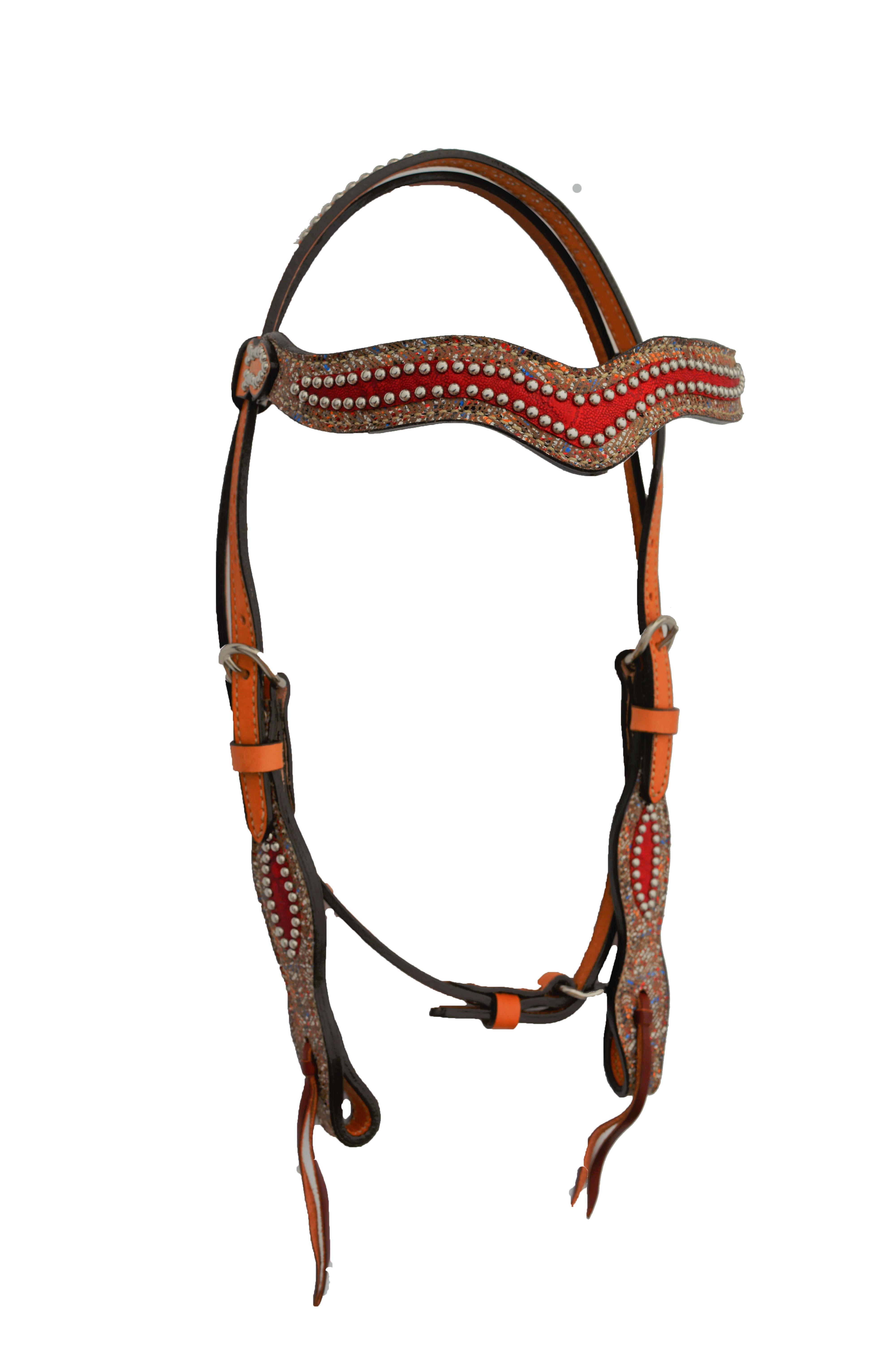 WAVE HEADSTALL WITH MULTIZAG AND RED ELEPHANT OVERLAYS