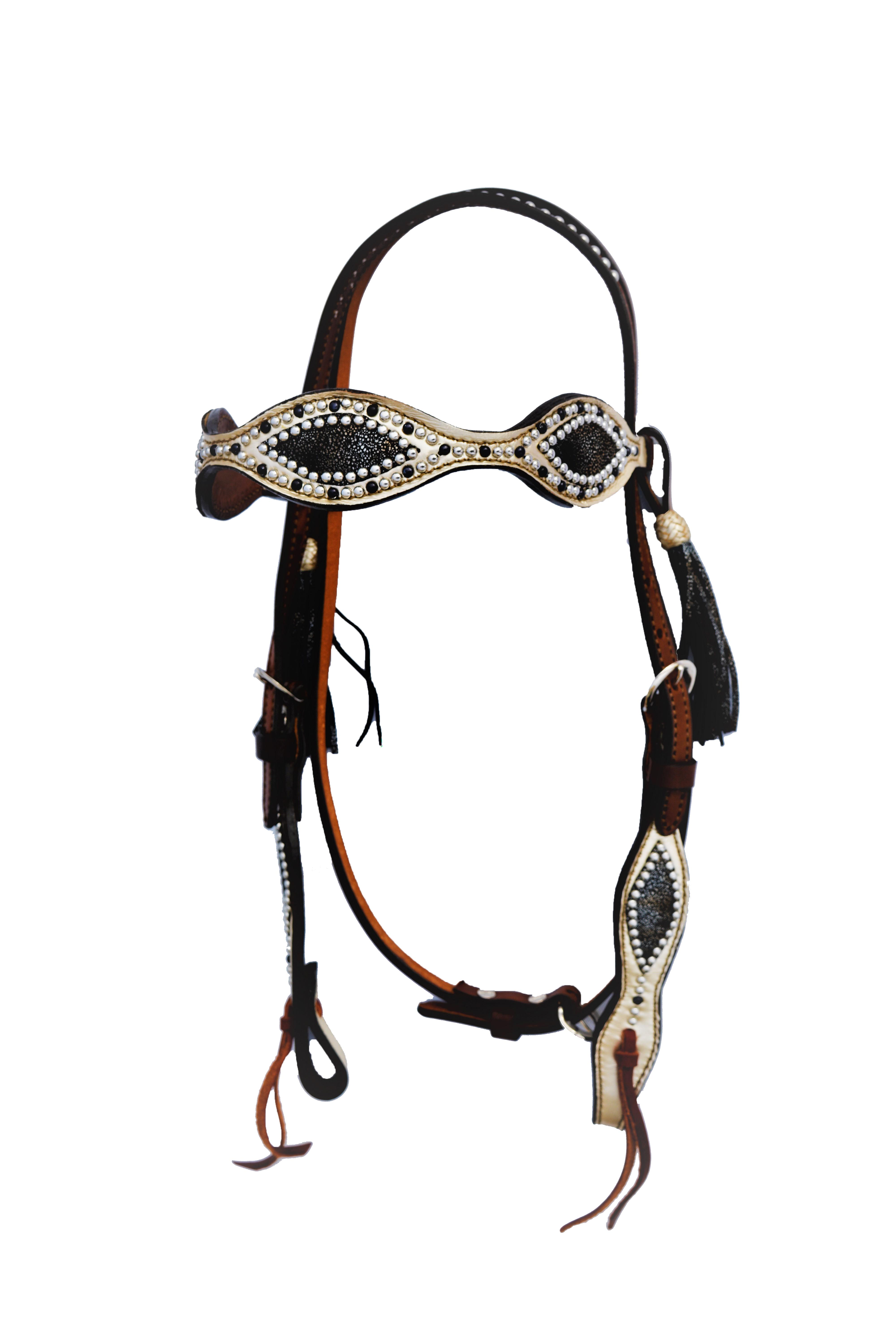 2265-BM Scalloped Headstall with Metallic & Black Metal overlays