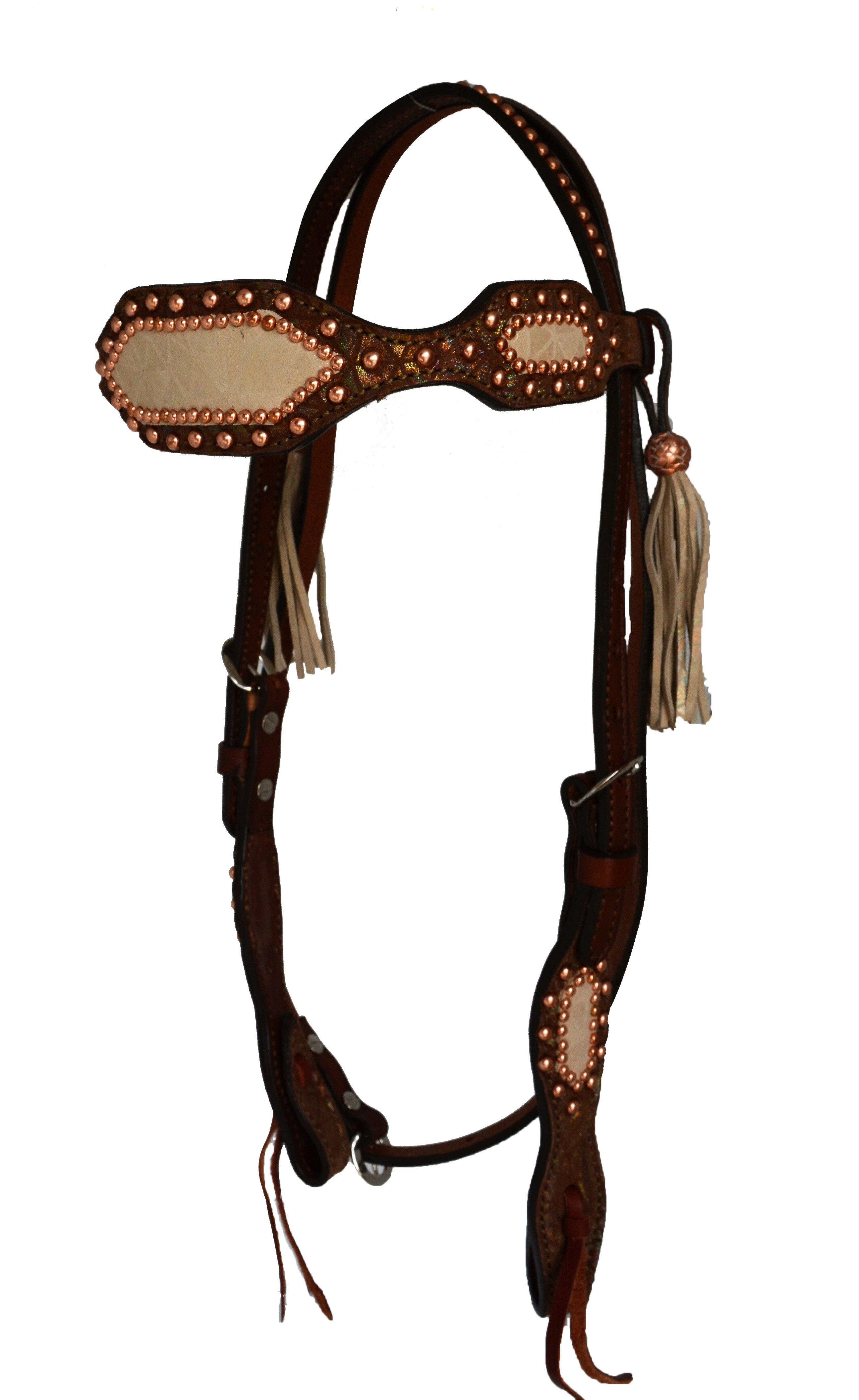 HEADSTALL WITH TOAST IRIDESCENT BACKGROUND AND IVORY IRIDESCENT OVERLAY