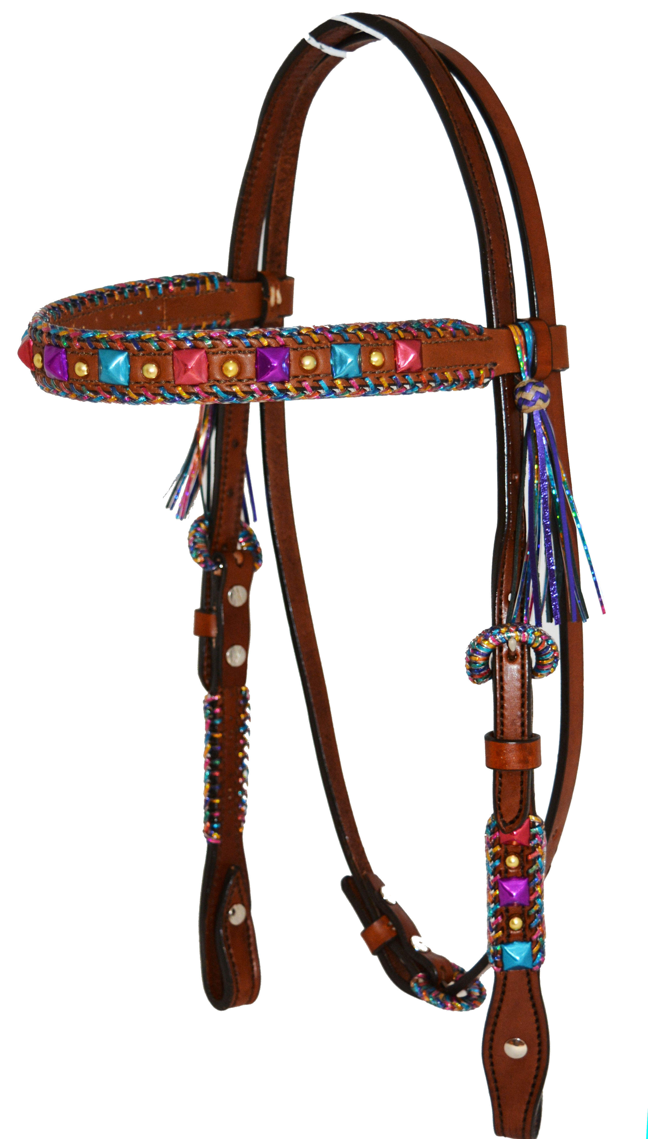 2614-TTD STRAIGHT BROW HEADSTALL w FIESTA LACING, MEATLLIC SPOTS