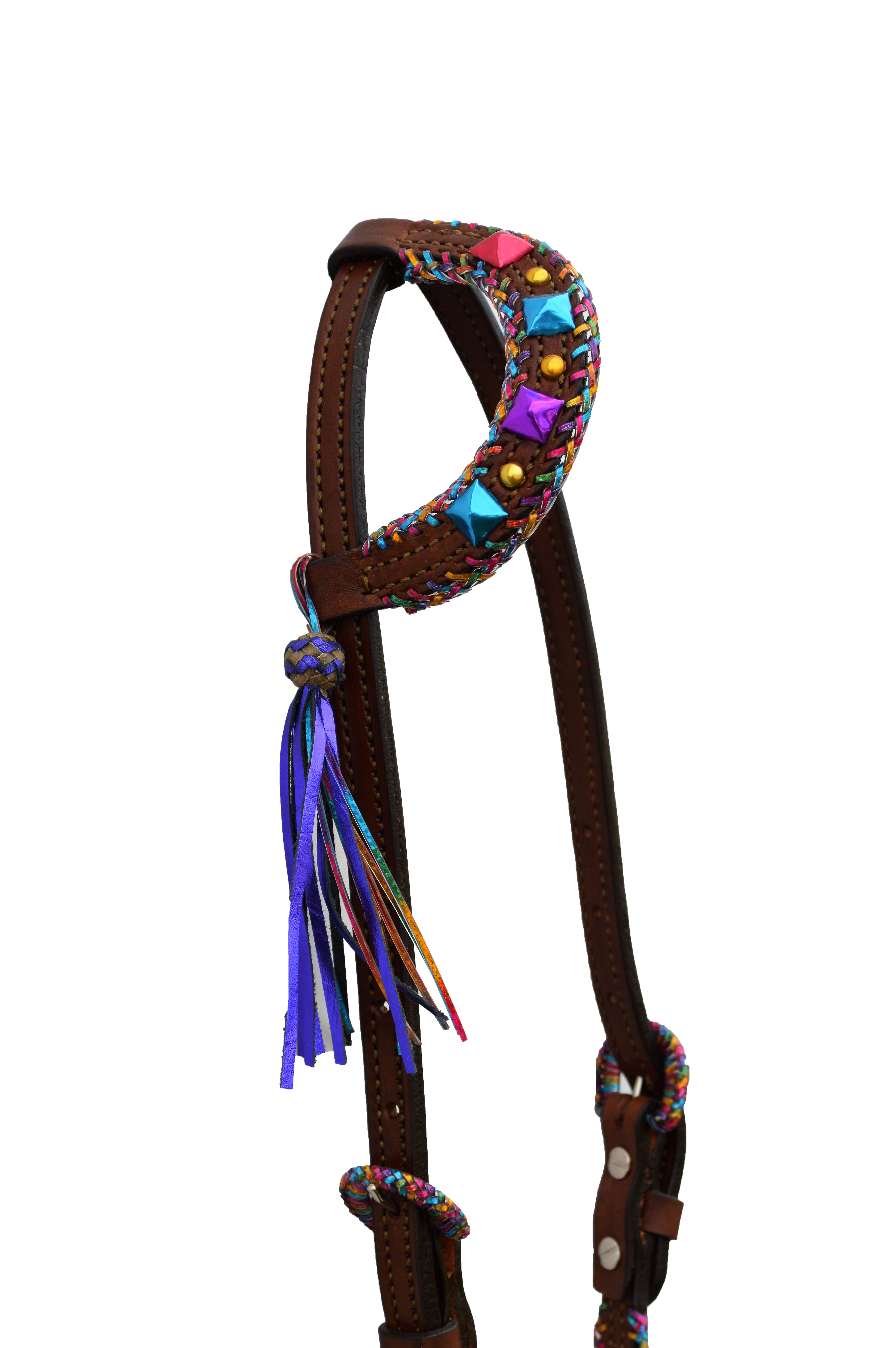 2670-TTD ONE EAR HEADSTALL WITH FIESTA BRAIDING AND SPOTTING