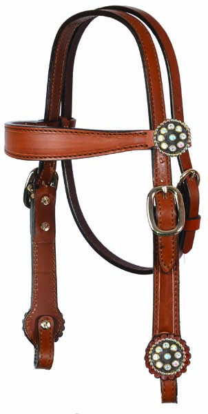 PONY HEADSTALL TOAST CARAMEL w OUTLINE, 3M CONCHOS