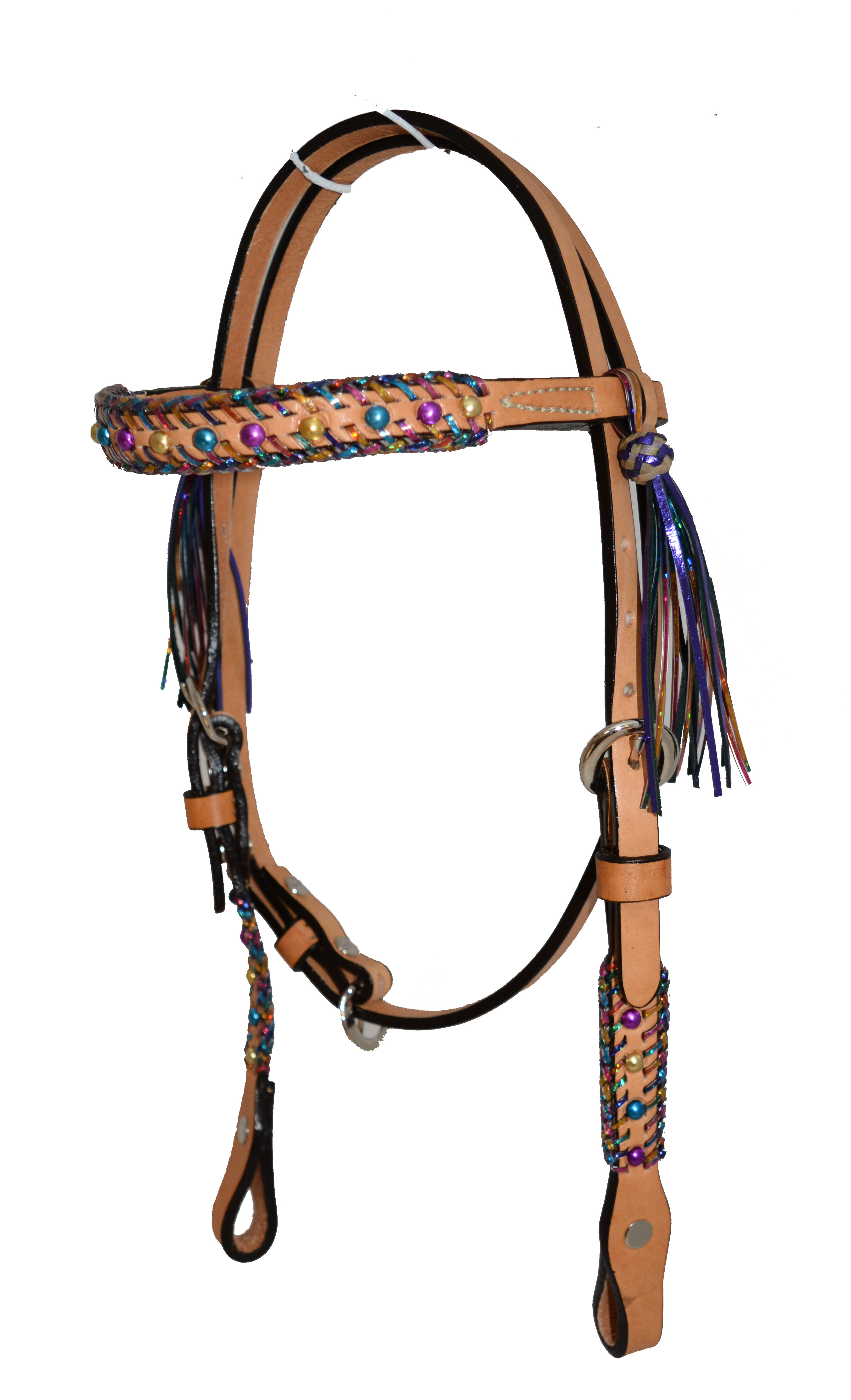 PONY HEADSTALL w FIESTA LACING & METALLIC SPOTS