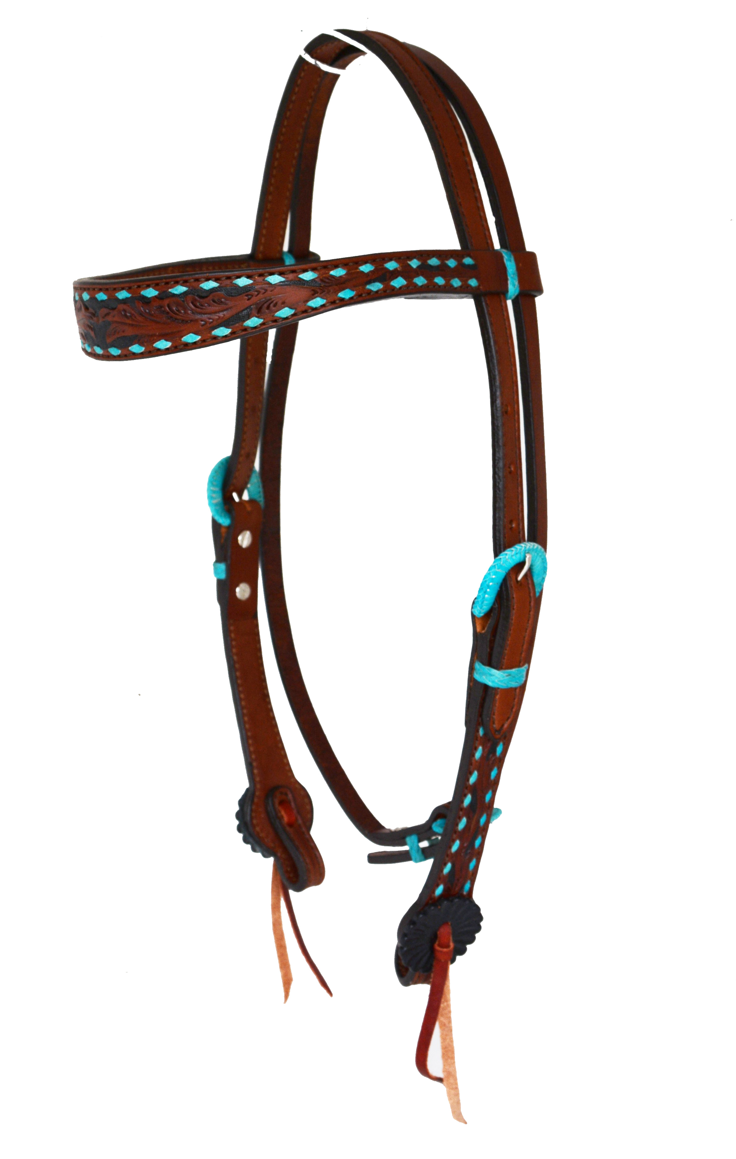 CONTOURED BROW HEADSTALL W TURQUOISE BUCKSTITCH