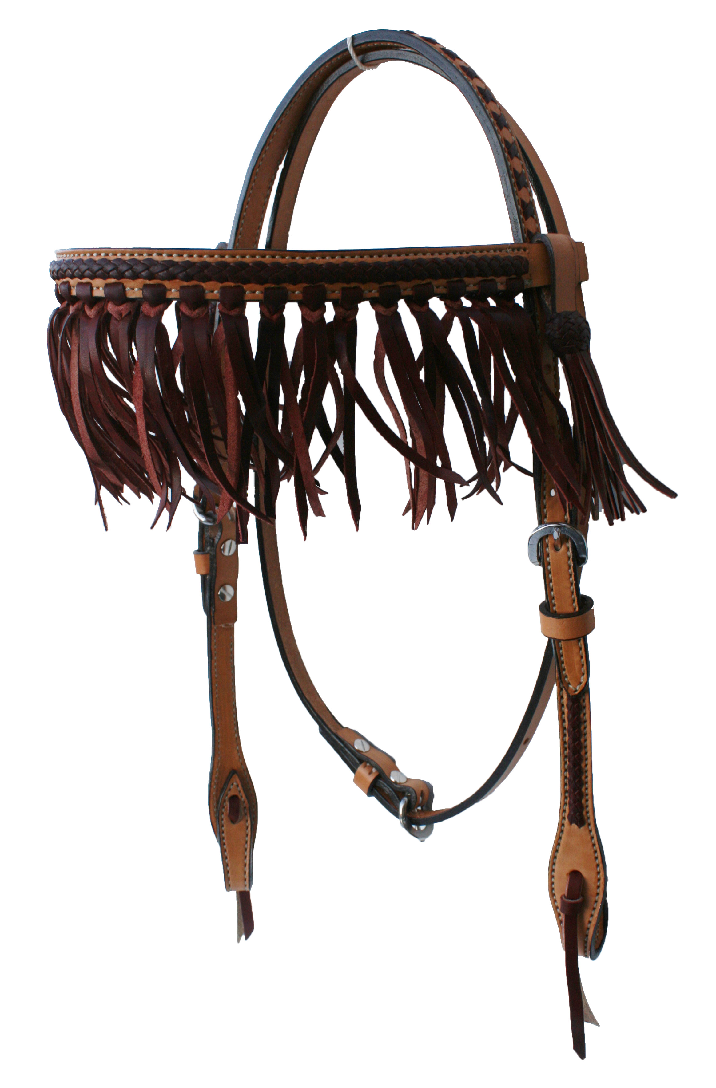2F15-LC STRAIGHT BROW HEADSTALL W LATIGO CENTER, FRINGE