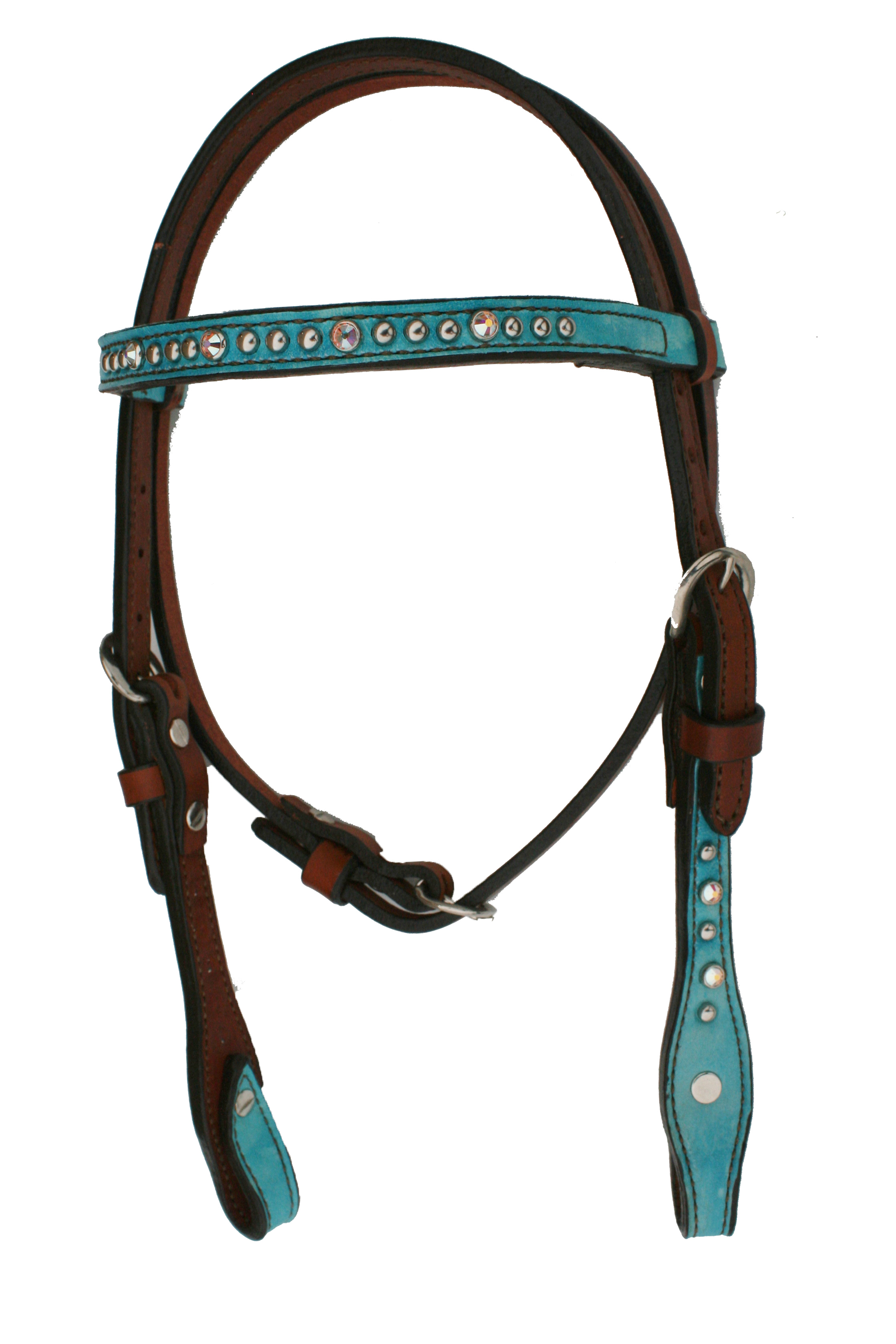 2715-JTM PONY SIZE HEADSTALL w TURQ MARBLE OVERLAY