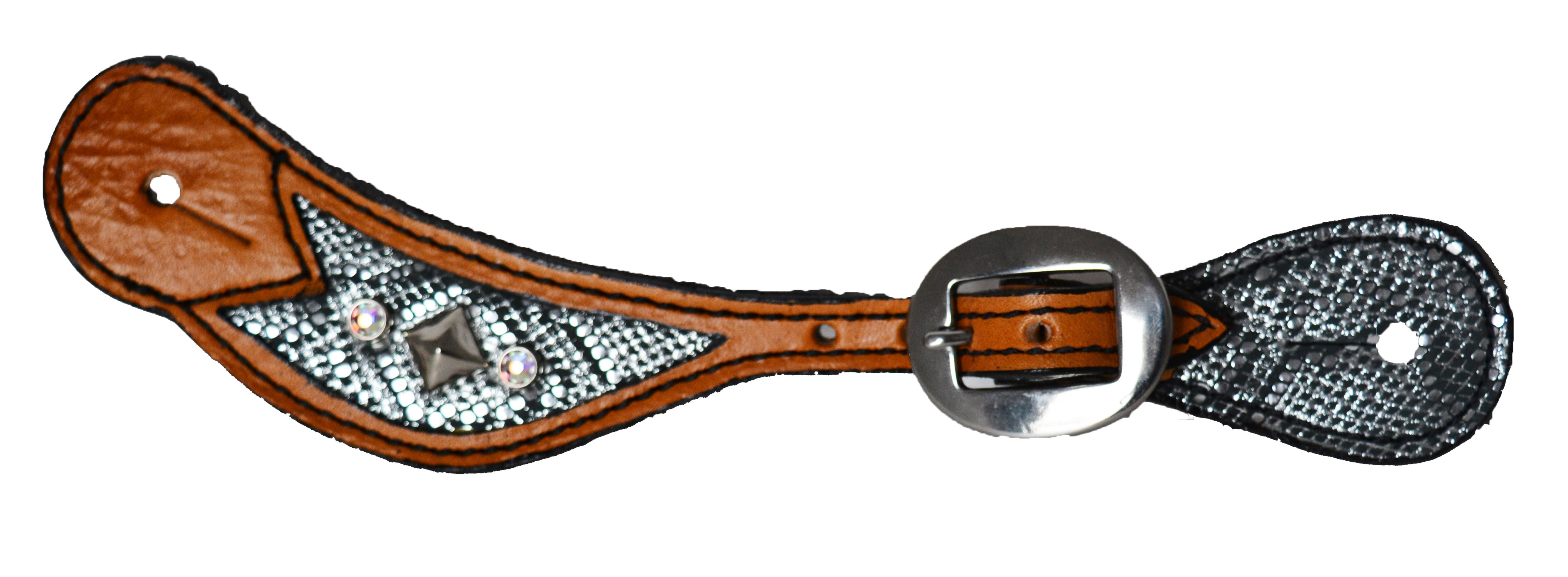 382-GPS SPUR STRAP w SILVER PYTHON OVERLAY w CRYSTALS