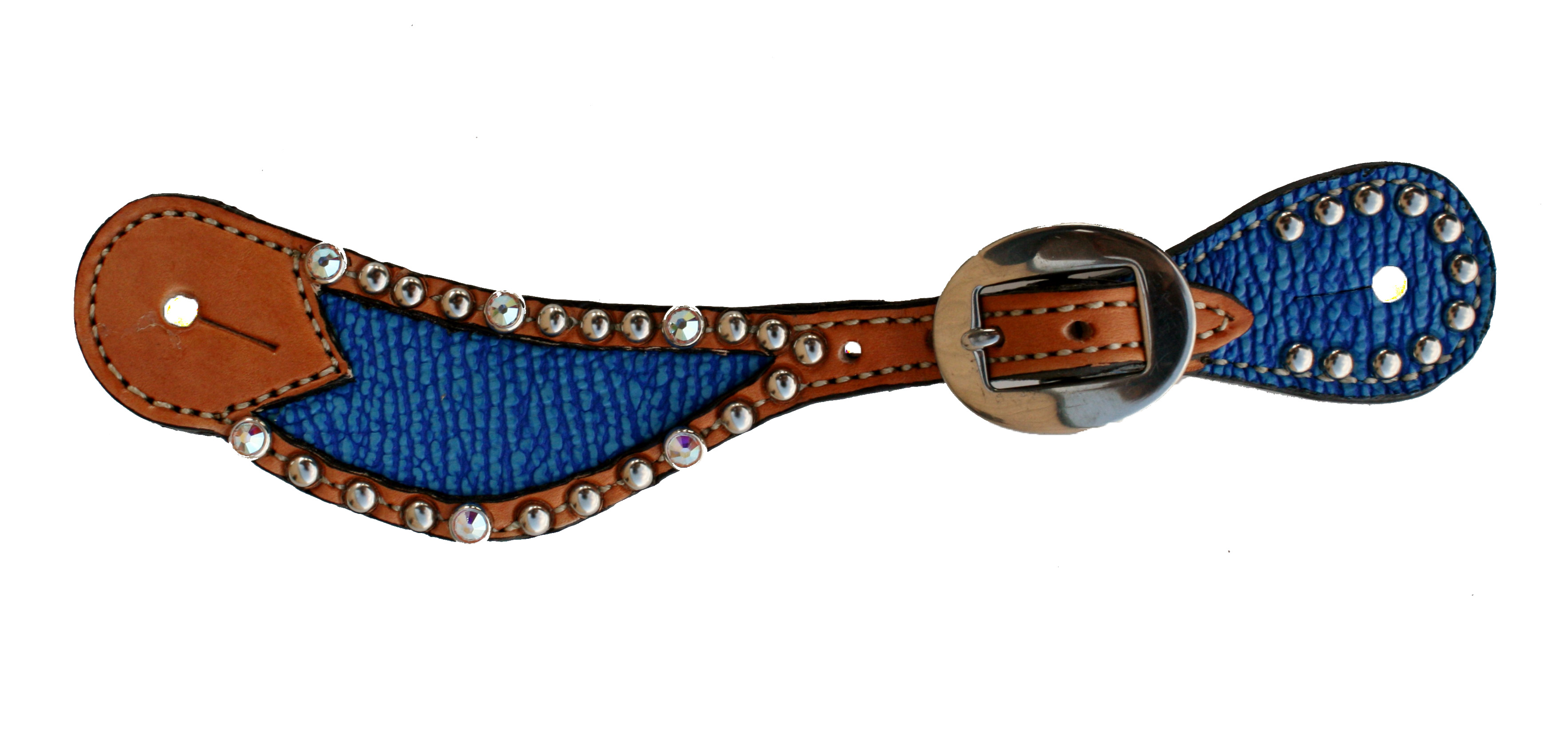382-JB LADIES ROYAL BLUE SHARK INLAY SPUR STRAP