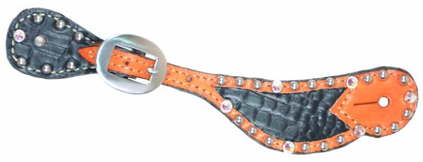LADIES SPUR STRAP GATOR BLACK INLAY