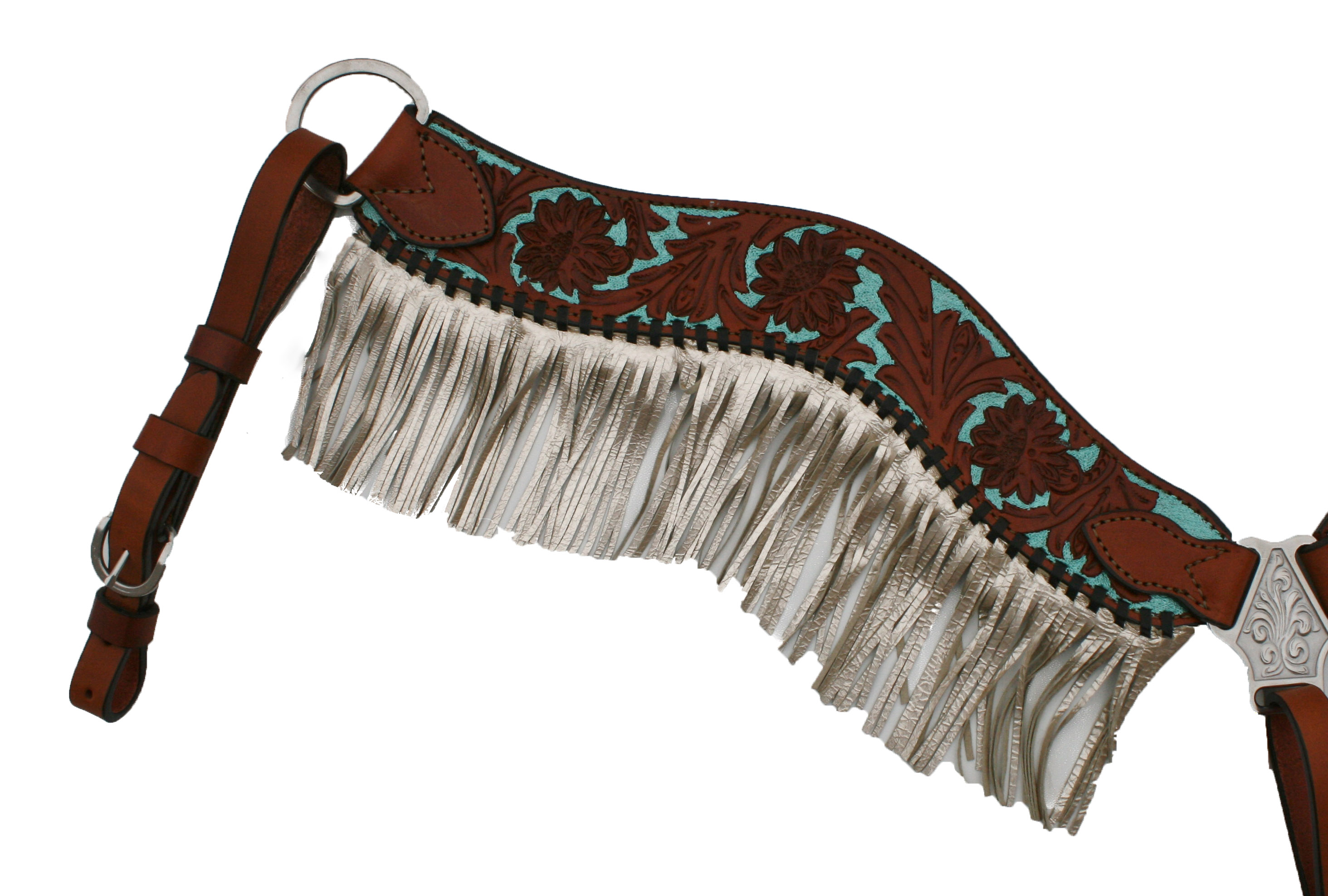 3F17-FT METALLIC FRINGE BREASTCOLLAR W TURQUOISE PAINTED BACKGROUND