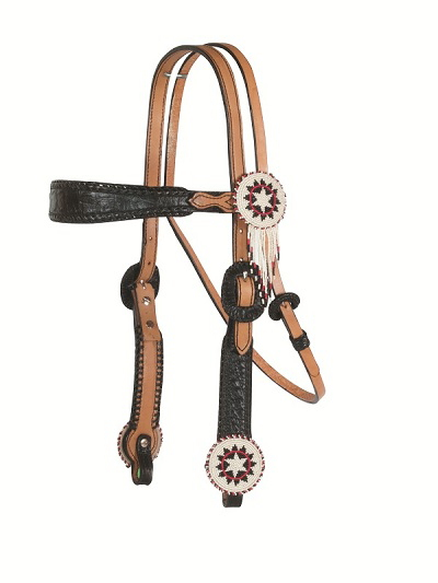 2608-W3 BEADED MEDALLION BLACK GATOR HEADSTALL