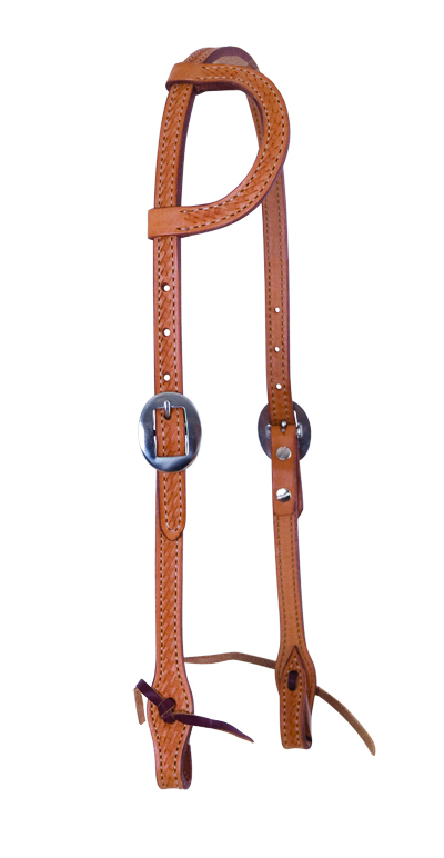 ELITE RUSSET ONE EAR HEADSTALL WITH BASKET TOOLING