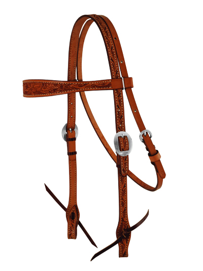 ELITE CHESTNUT FLORAL TOOLED HEADSTALL