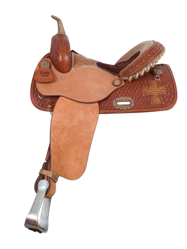 Brown Gator Cross Cut-Out Barrel Saddle