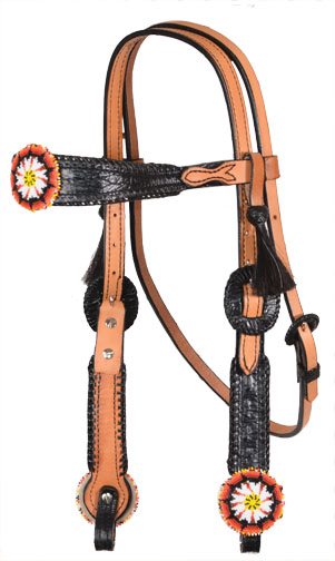 2608-W6 BEADED MEDALLION BLACK GATOR HEADSTALL