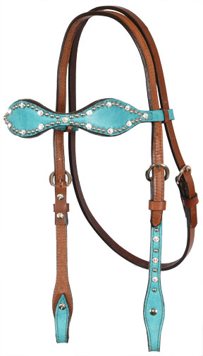 2065-JTM SCALLOPED TURQUOISE MARBLE HEADSTALL